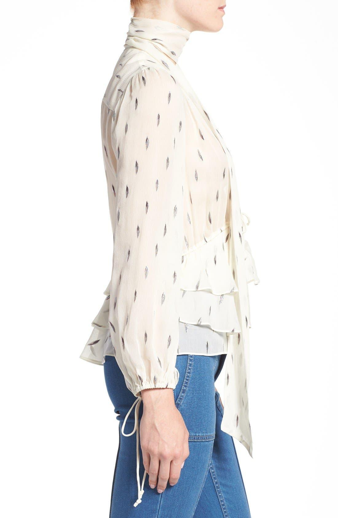Alternate Image 4  - Olivia Palermo + Chelsea28 Tie Neck Peplum Silk Top