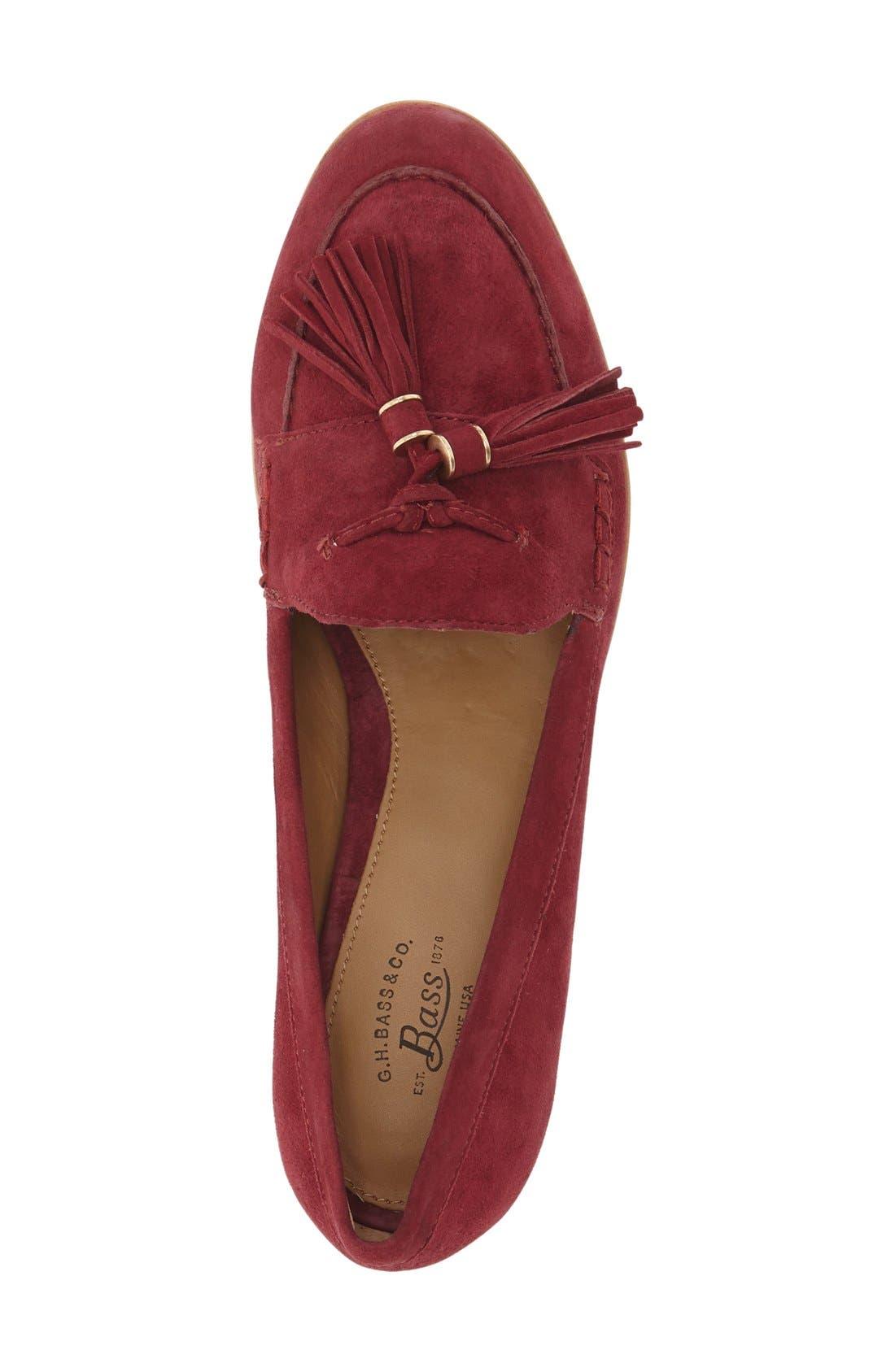 'Estelle' Tassel Loafer,                             Alternate thumbnail 3, color,                             Cherry Red Suede