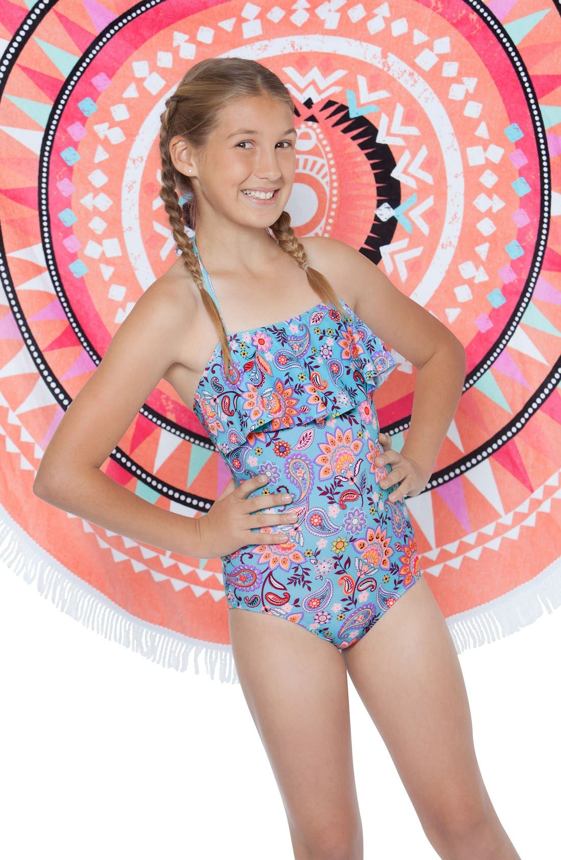 'Le Corsaire' Print One-Piece Swimsuit,                             Alternate thumbnail 2, color,                             Aqua Brown