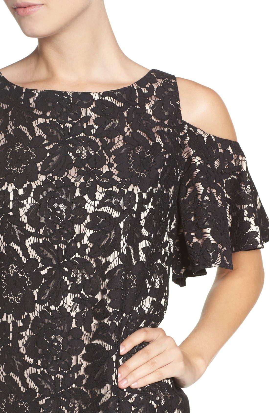 Cold Shoulder Lace Shift Dress,                             Alternate thumbnail 5, color,                             Black