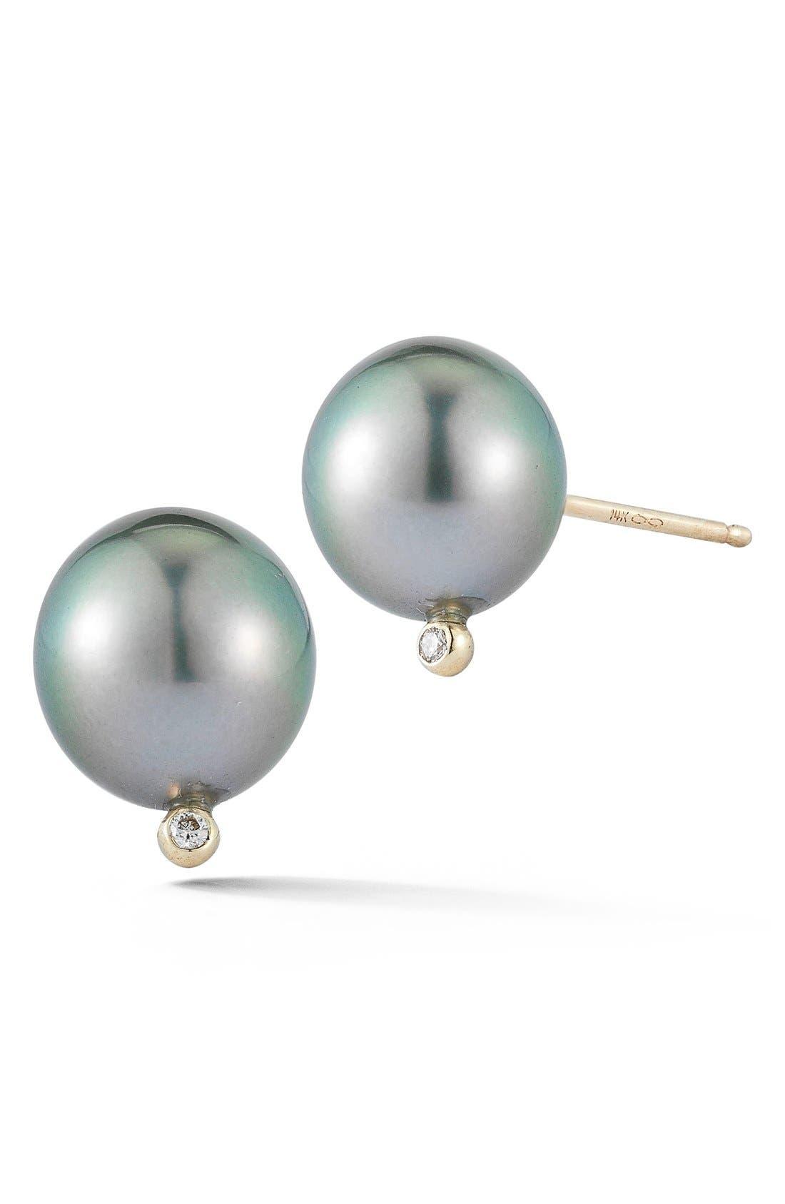 Pearl & Diamond Stud Earrings,                         Main,                         color, Black Pearl