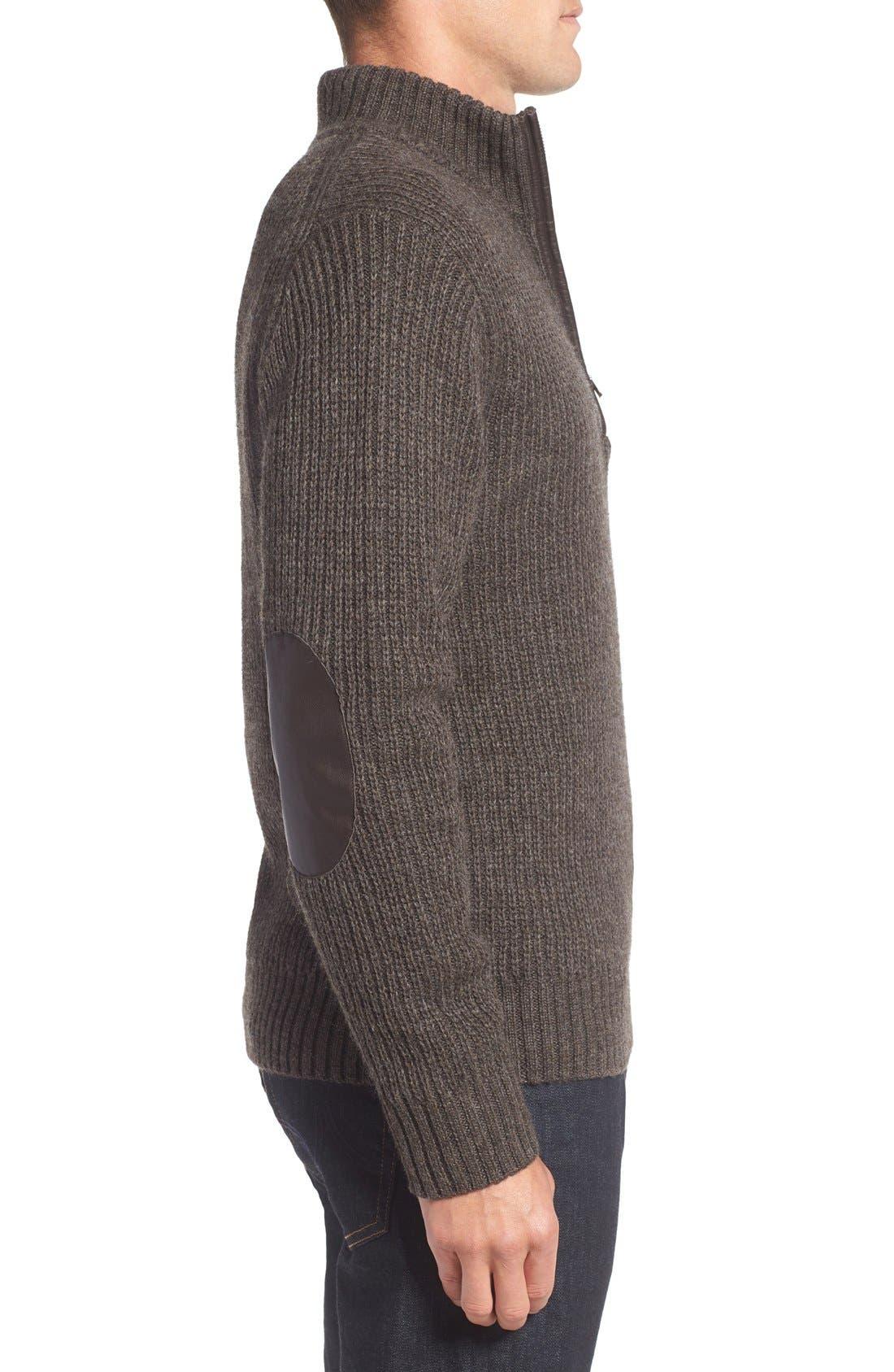 'Huka Lodge' Merino Wool Blend Quarter Zip Sweater,                             Alternate thumbnail 3, color,                             Dirt