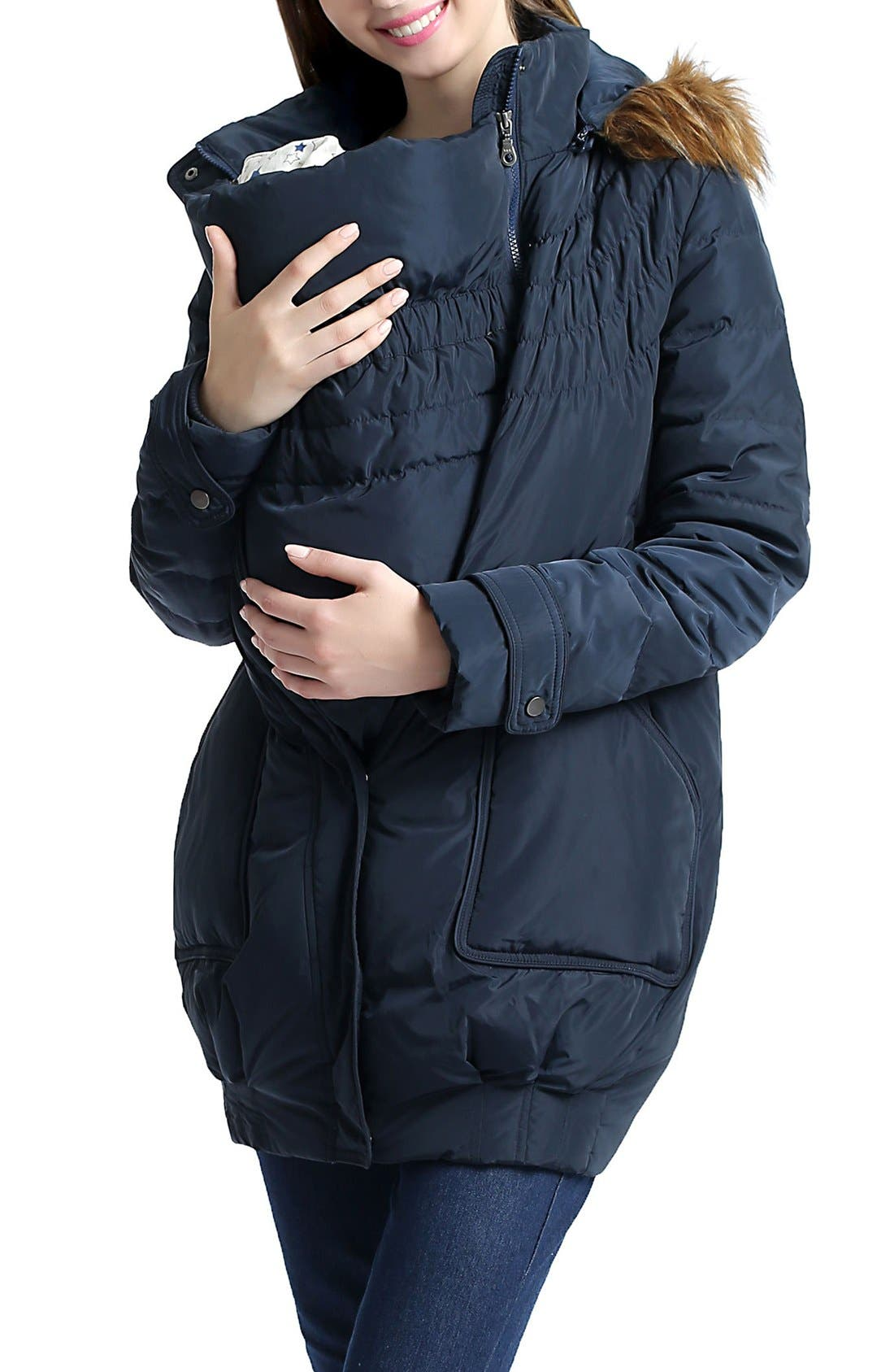 'Arlo' Water Resistant Down Maternity Parka with Baby Carrier Cover Inset,                             Alternate thumbnail 4, color,                             Navy