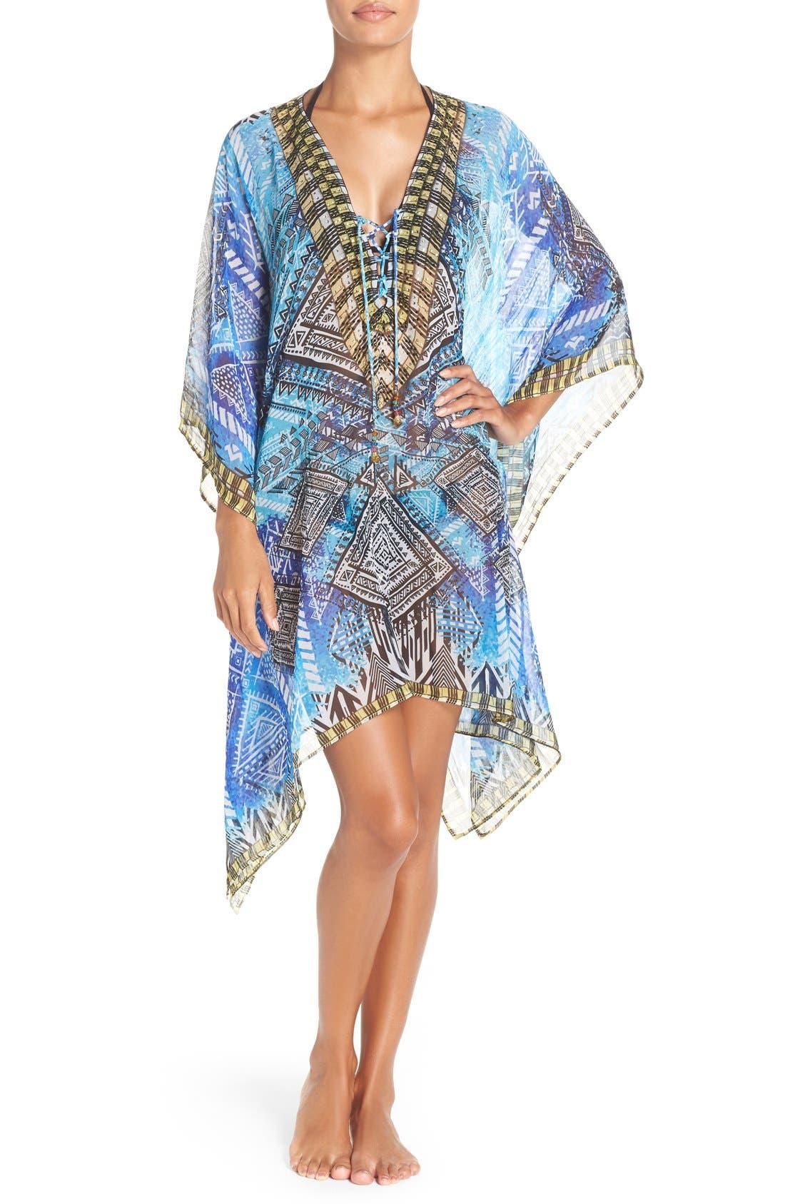 'Fiji' Short Kaftan,                         Main,                         color, Blue