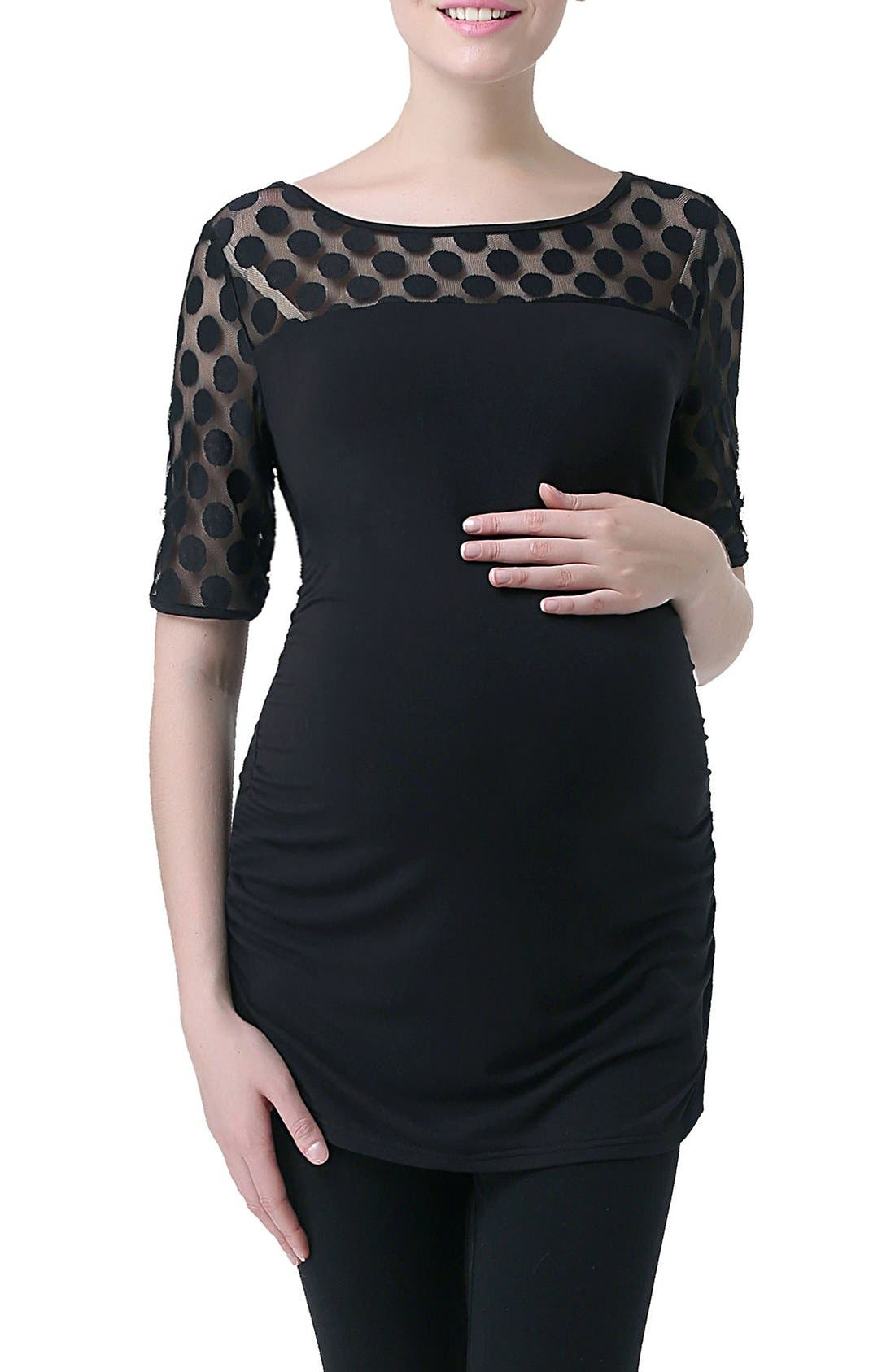 'Gisele' Dot Mesh Maternity Top,                             Main thumbnail 1, color,                             Black
