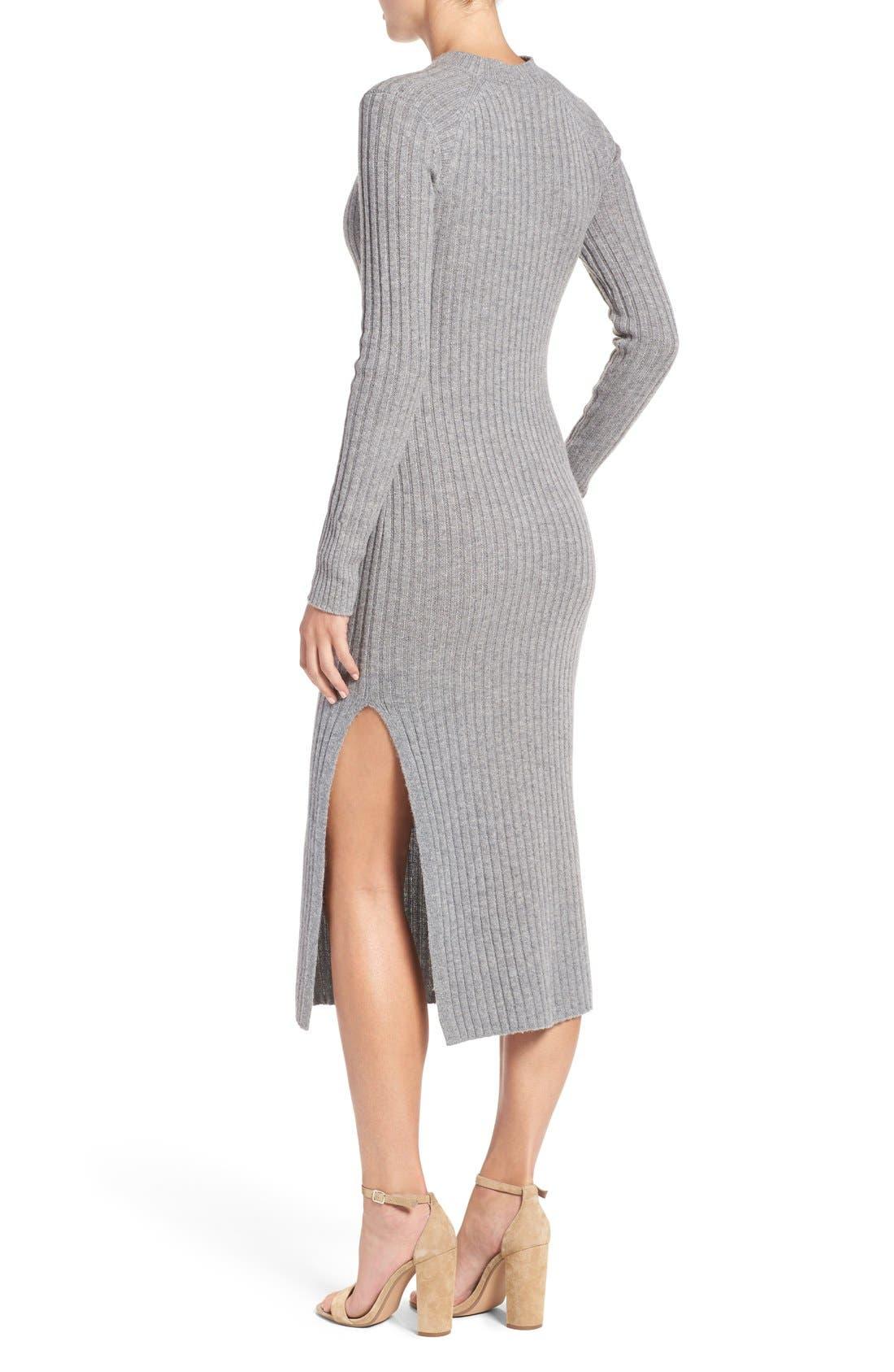 Reign Merino Wool & Cashmere Sweater Midi Dress,                             Alternate thumbnail 2, color,                             Medium Heather Grey
