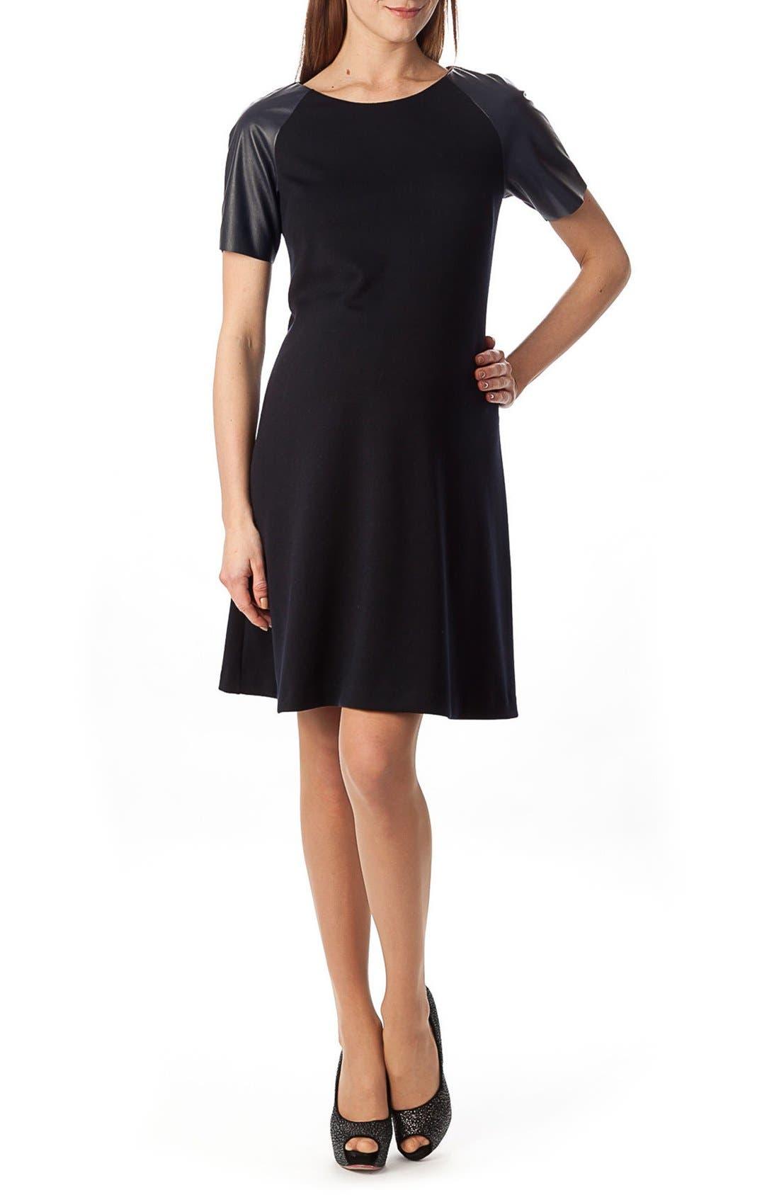 'Knightsbridge' A Line Maternity Dress,                             Main thumbnail 1, color,                             Dark Navy