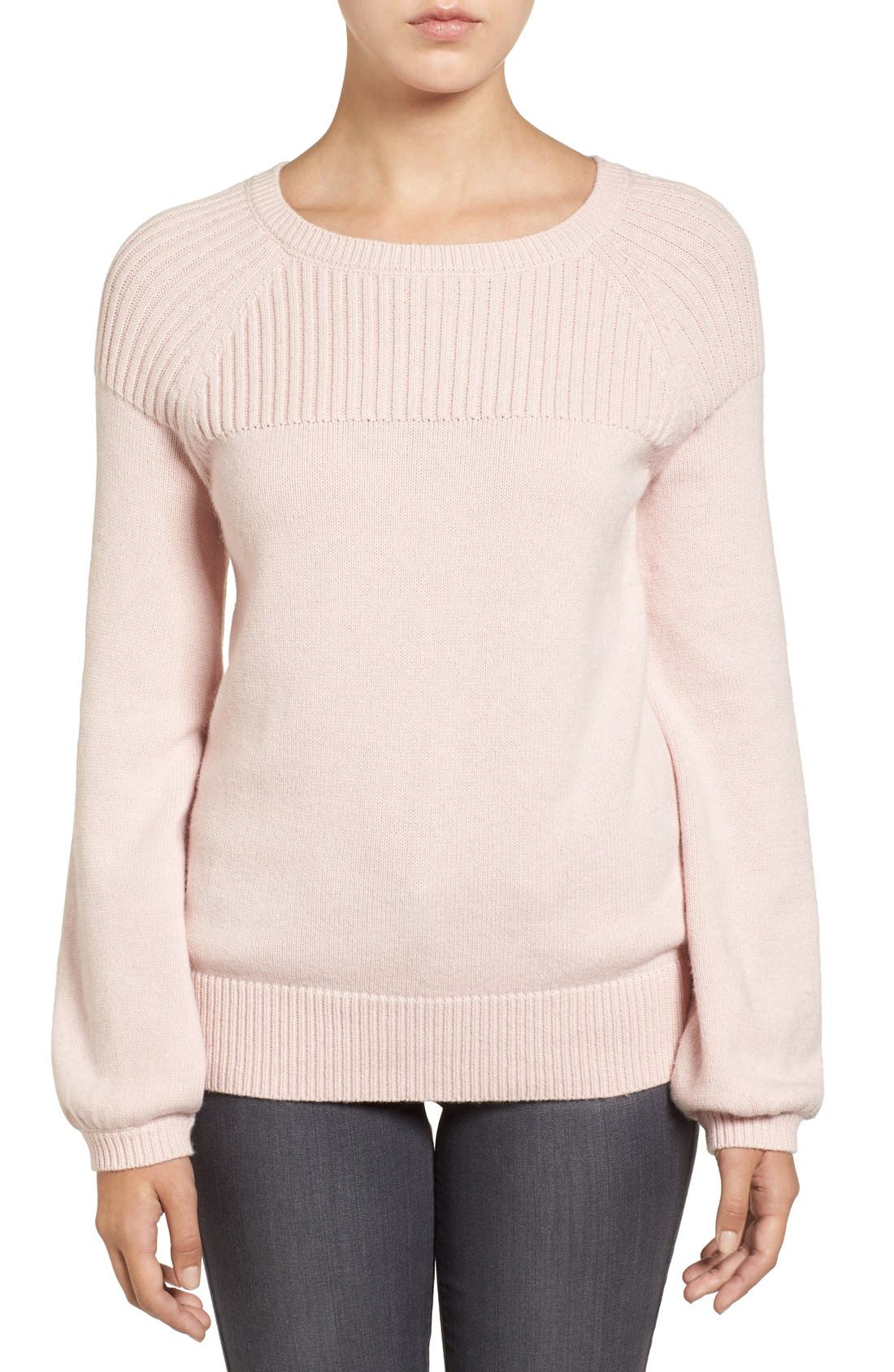 Main Image - Halogen® Ribbed Yoke Pullover (Regular & Petite)