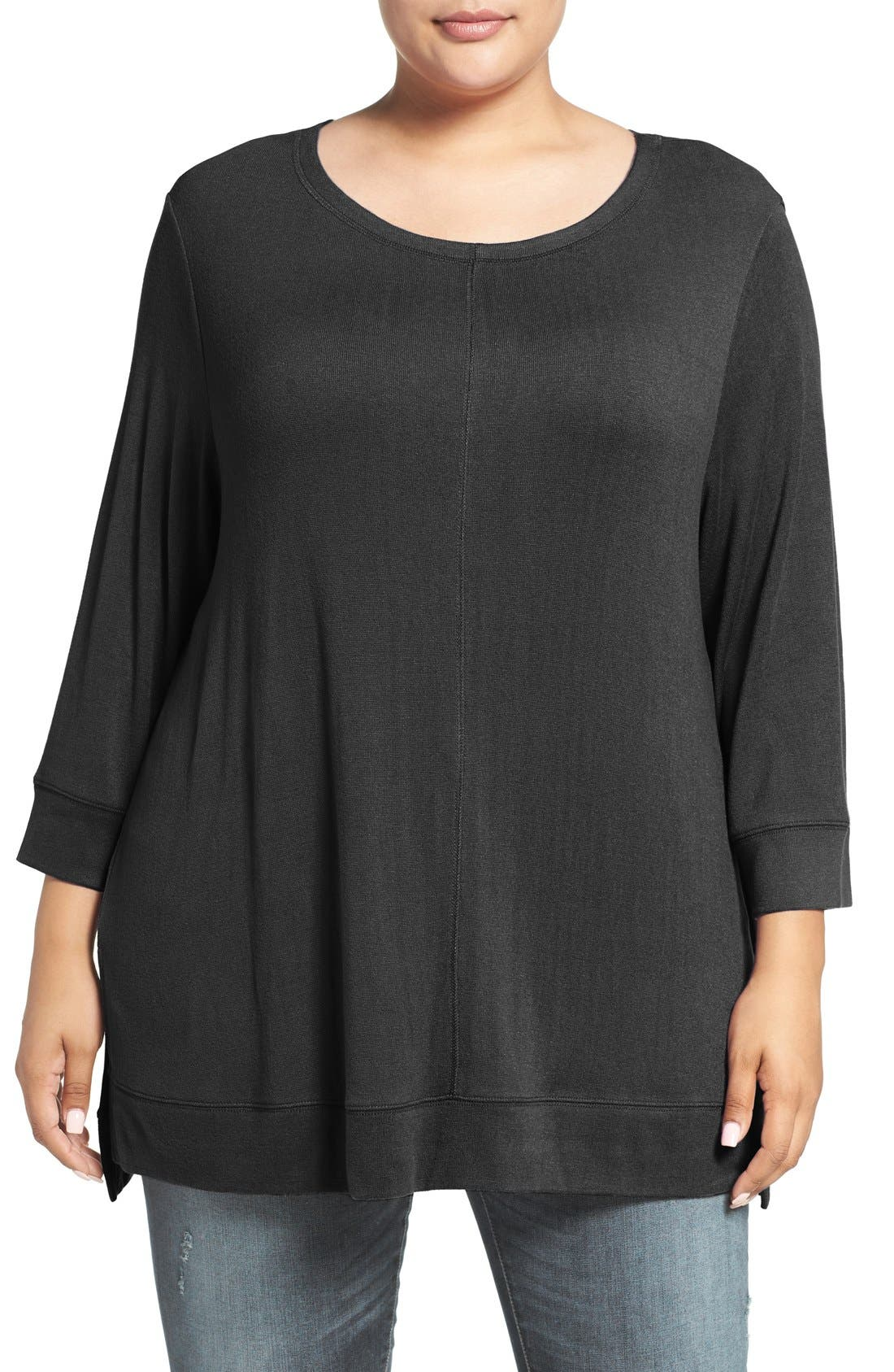 Three Quarter Sleeve Modal Blend Knit Top,                         Main,                         color, Black
