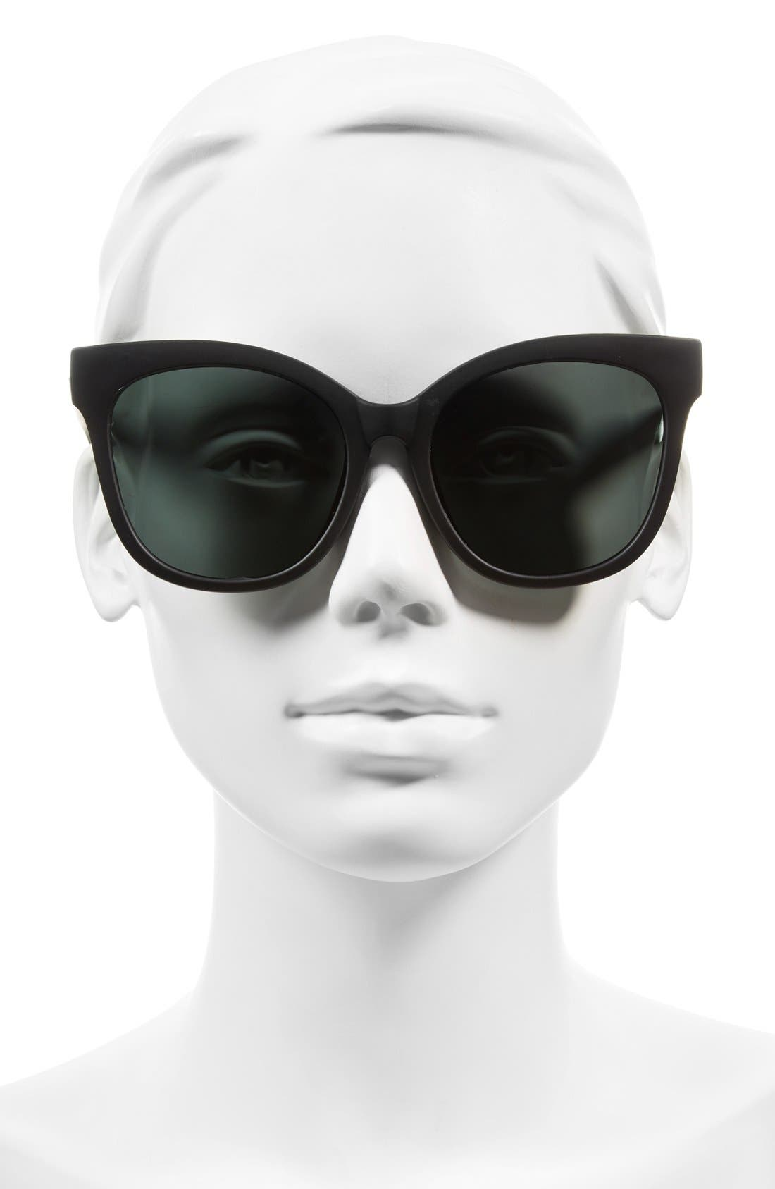 It's My Way 55mm Sunglasses,                             Alternate thumbnail 3, color,                             Black/ Smoke
