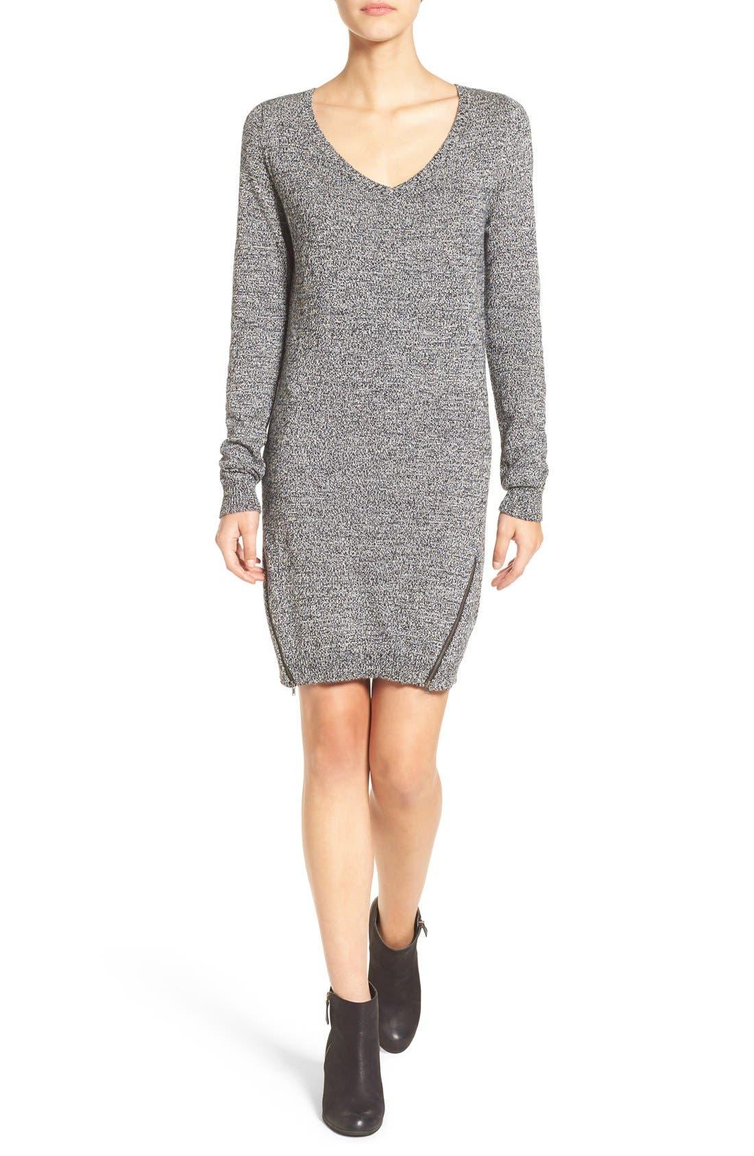 Zip Detail Sweater Dress,                         Main,                         color, Black Wlnd Marl