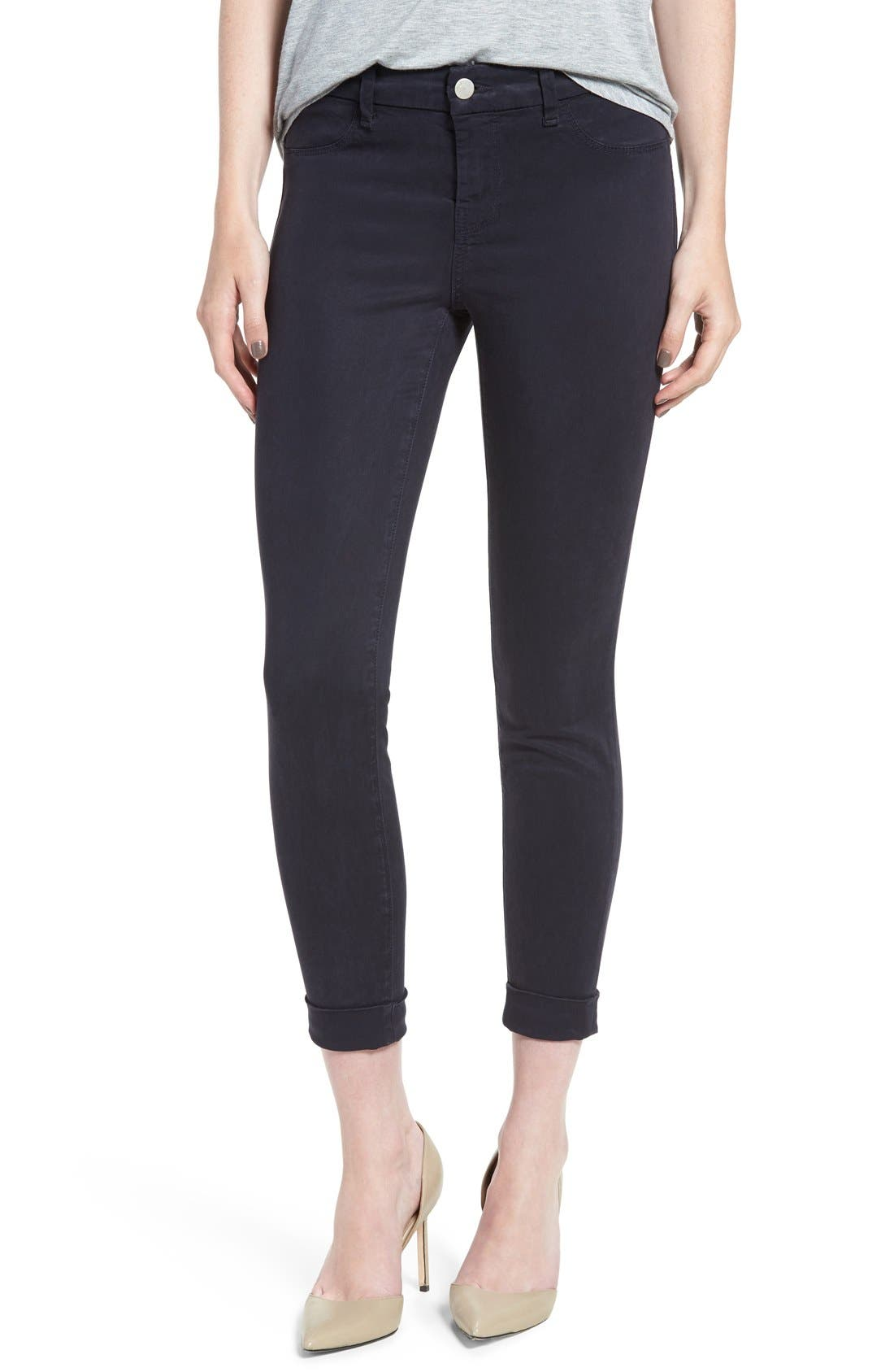 High Waist Ankle Super Skinny Jeans,                             Alternate thumbnail 6, color,                             Dark Navy
