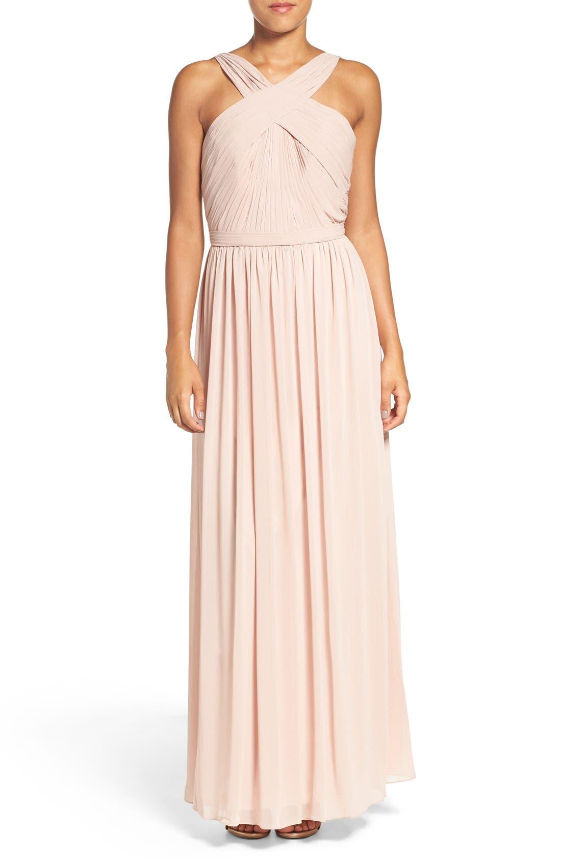 'Micah' Crisscross Neck A-Line Chiffon Gown,                         Main,                         color, Buff