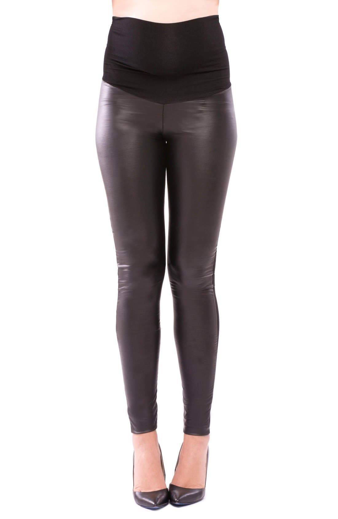 Olian Melissa Faux Leather Maternity Leggings
