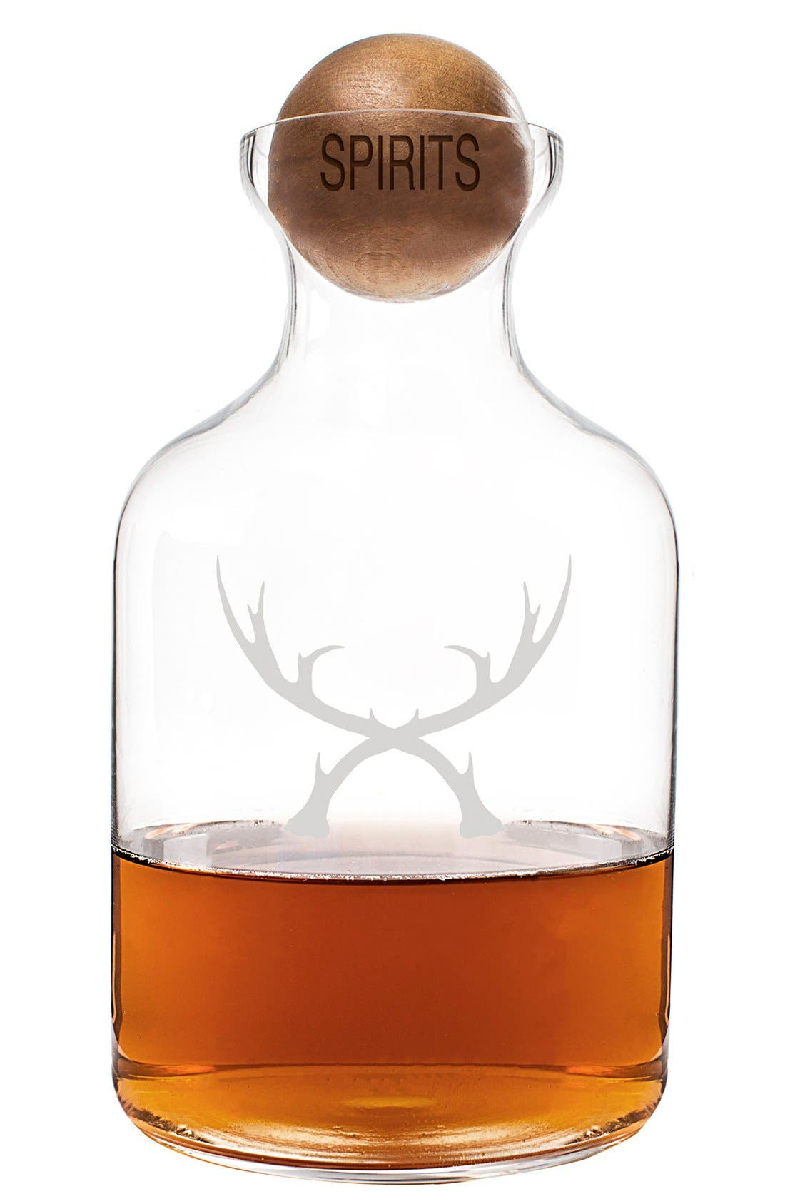 'Antlers' Glass Decanter & Wood Stopper,                         Main,                         color, Brown