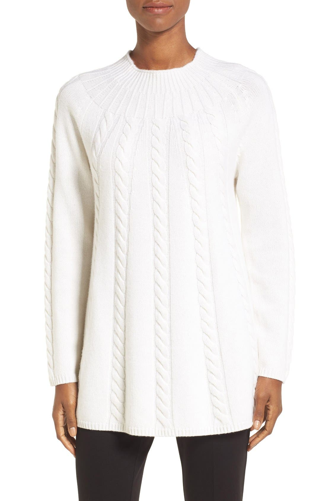 Alternate Image 1 Selected - Nordstrom Collection Cashmere Cable Knit A-Line Pullover