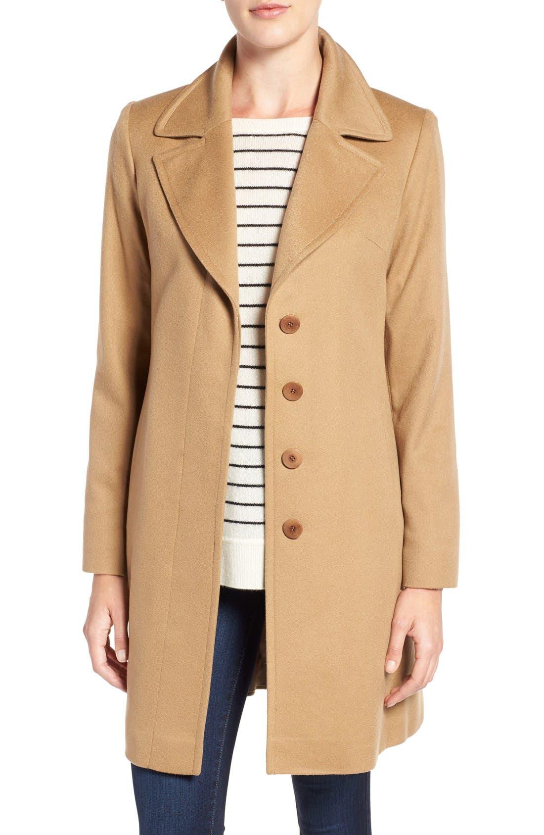 Alternate Image 1 Selected - Fleurette Notch Collar Lightweight Cashmere Coat