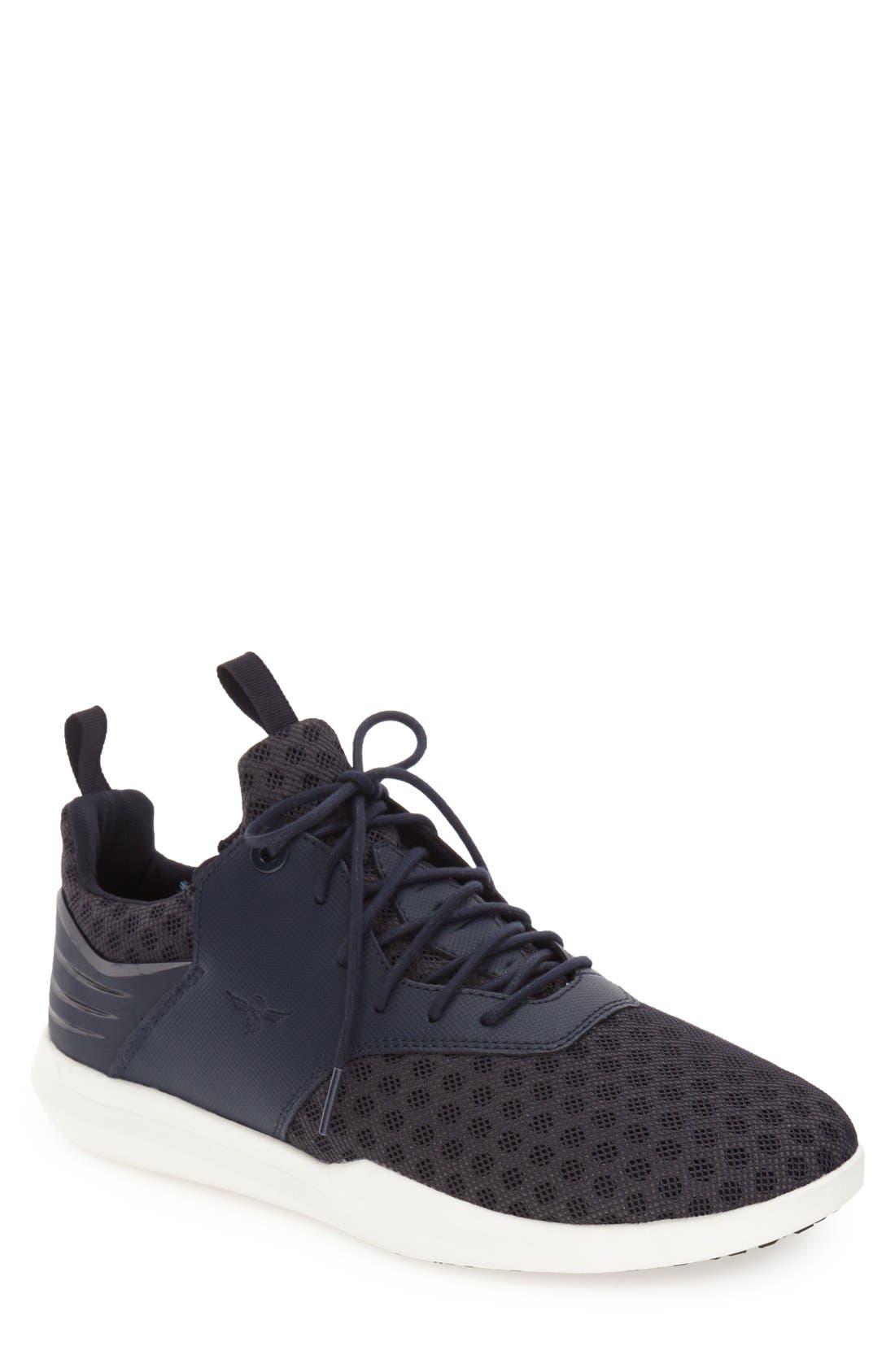 Deross Sneaker,                         Main,                         color, Navy Leather