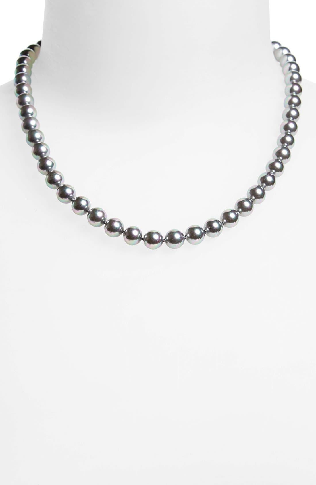 7mm Round Simulated Pearl Strand Necklace,                             Alternate thumbnail 2, color,                             Grey