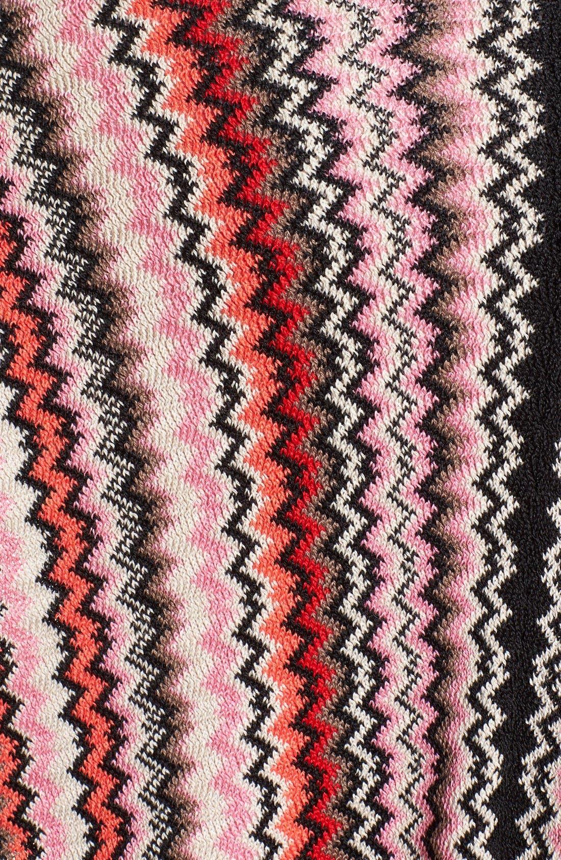 Fringe Zigzag Cape,                             Alternate thumbnail 3, color,                             Red/ Brown/ Pink