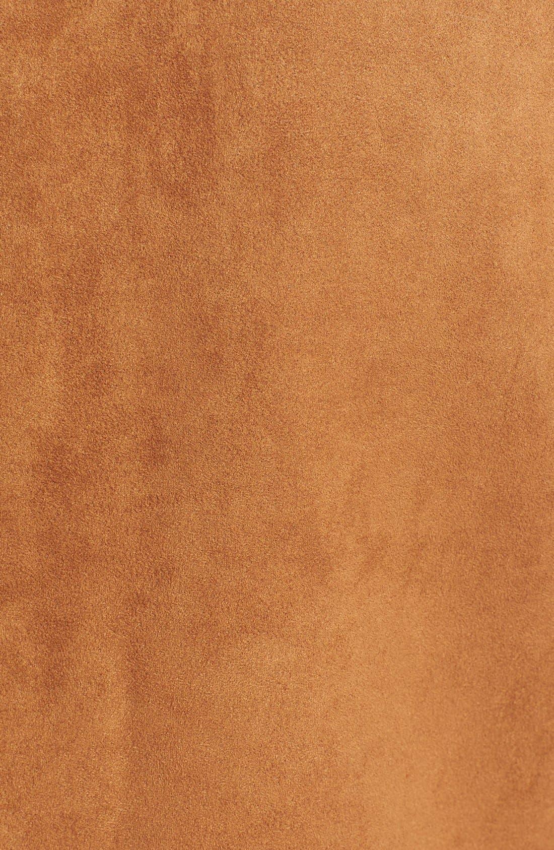Long Faux Shearling Vest,                             Alternate thumbnail 5, color,                             Cognac