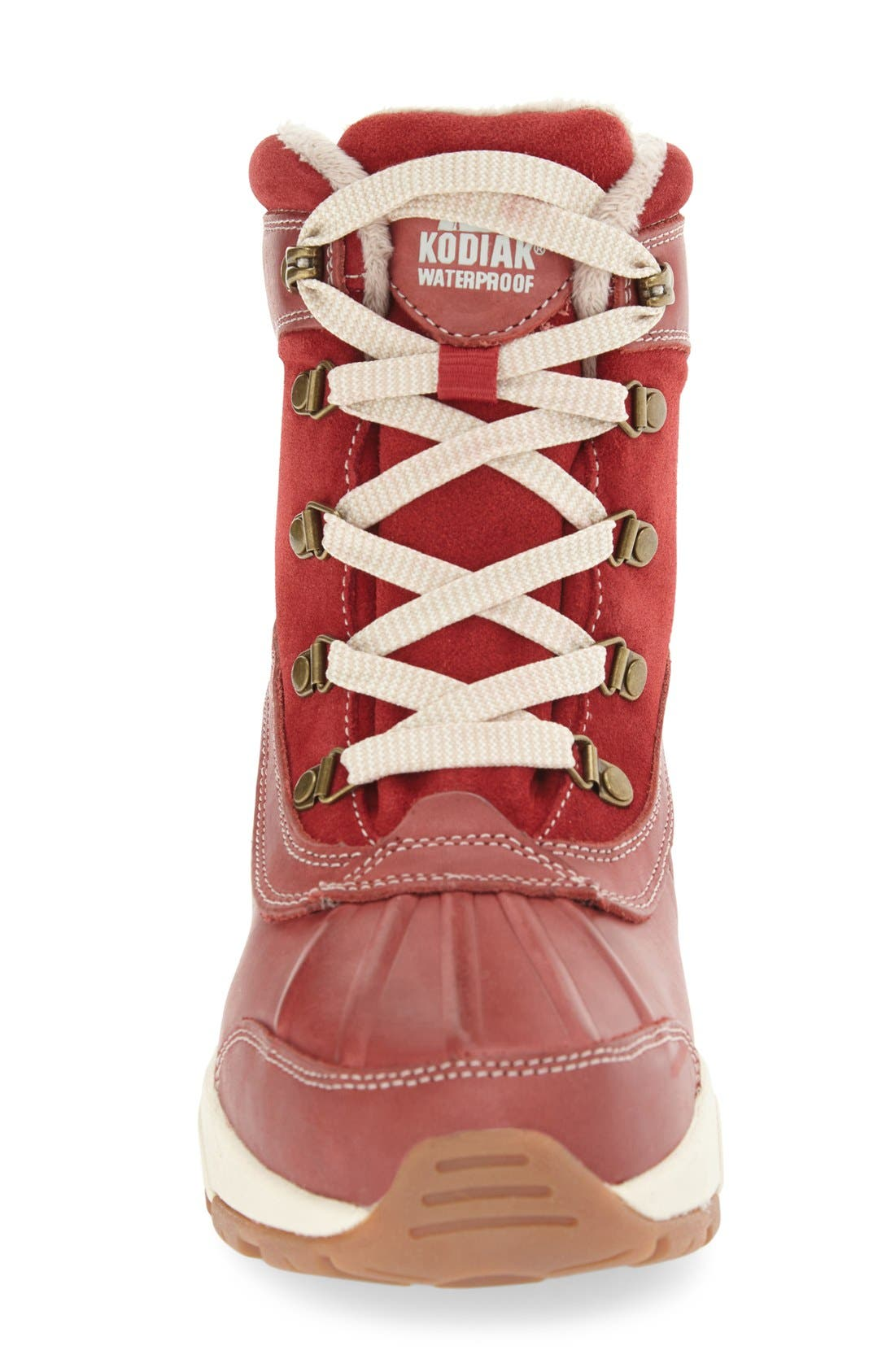 'Renee' Waterproof Insulated Winter Boot,                             Alternate thumbnail 3, color,                             Red Leather