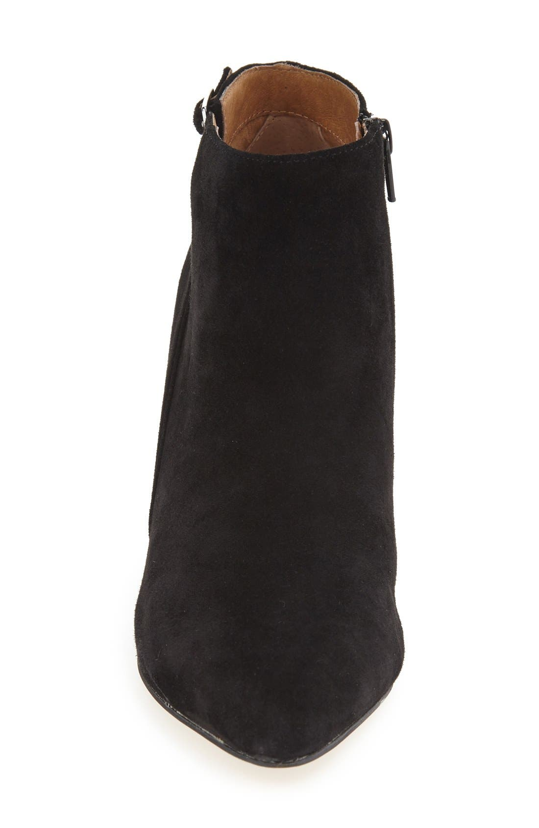 'Roster' Pointy Toe Bootie,                             Alternate thumbnail 3, color,                             Black Suede