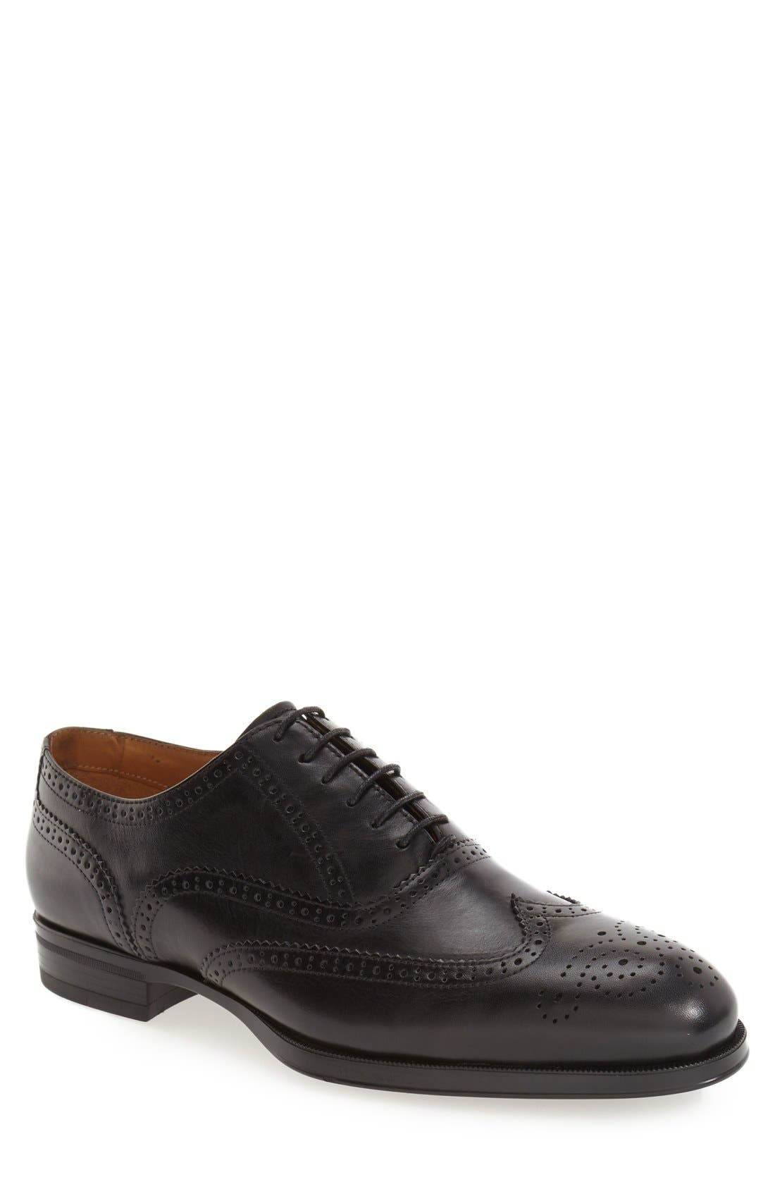 'Tallden' Wingtip,                         Main,                         color, Black Leather