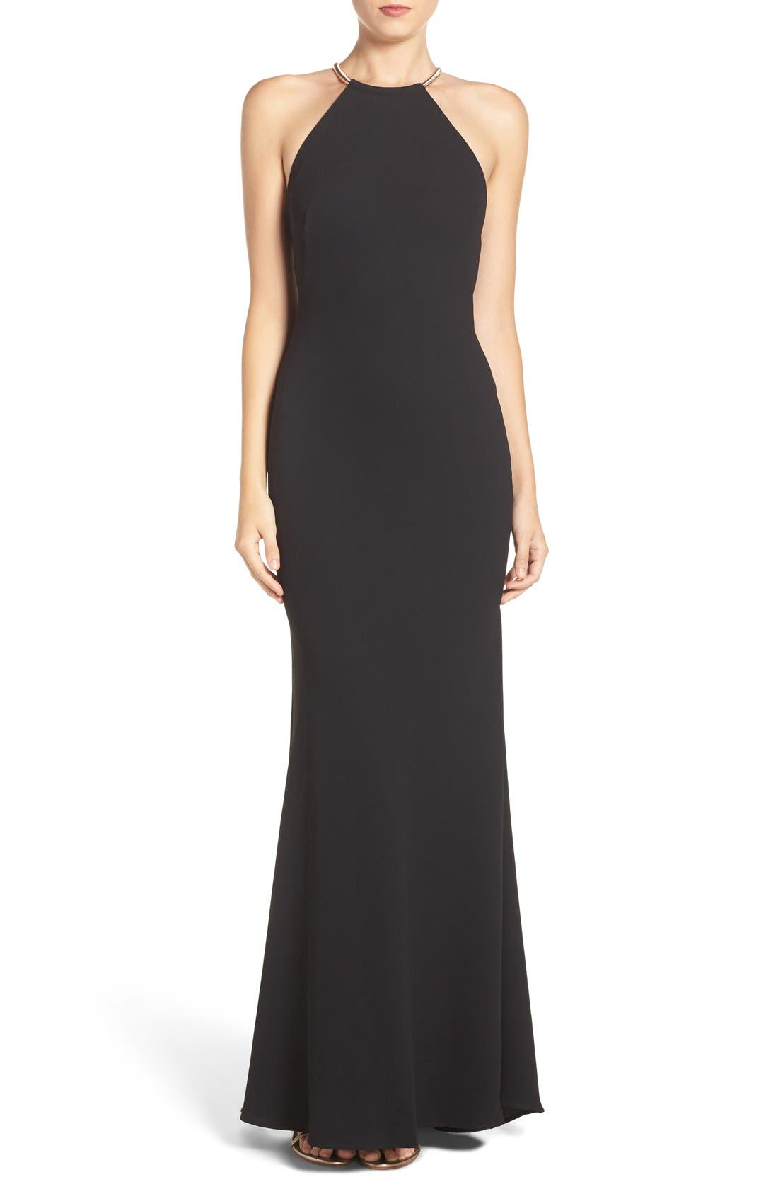 Main Image - Xscape Chain Neck Crepe Gown