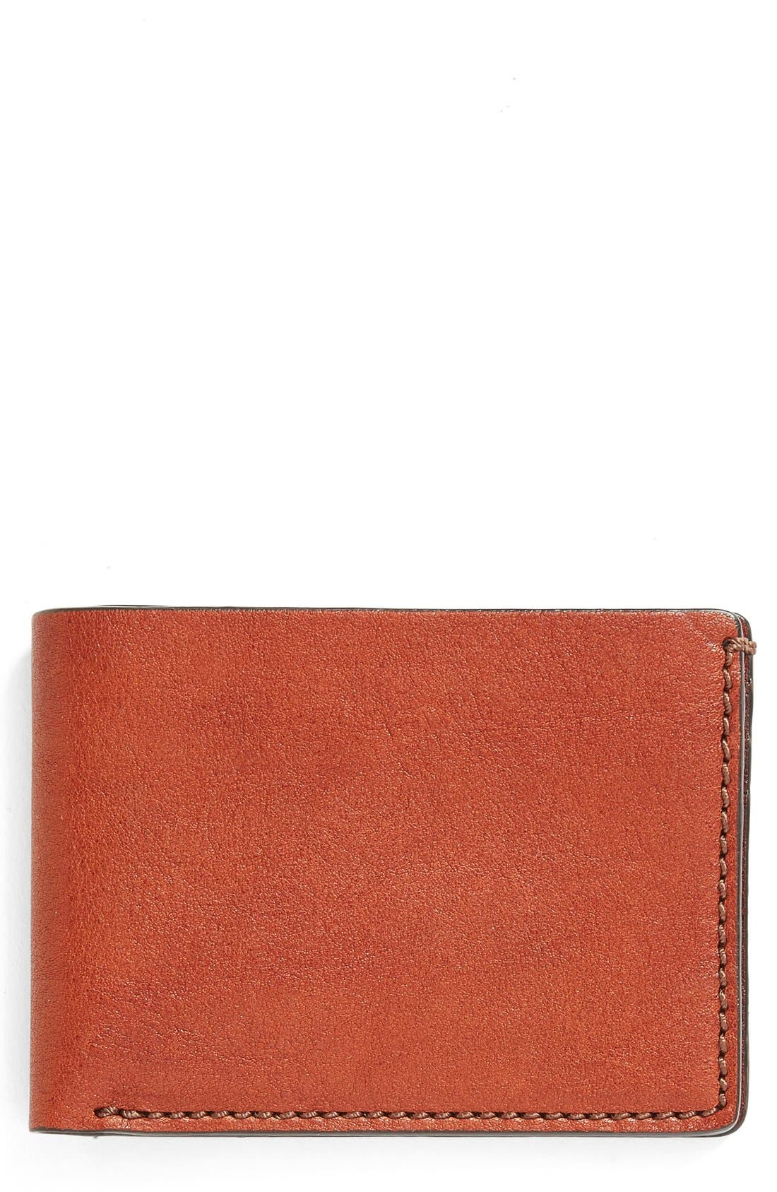 Leather Bifold Wallet,                             Main thumbnail 1, color,                             Cognac