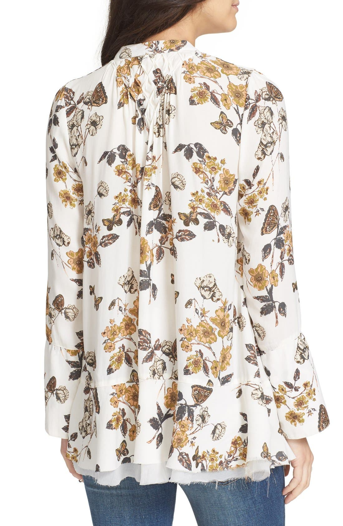 Floral Print Smocked Tunic,                             Alternate thumbnail 2, color,                             Ivory Combo