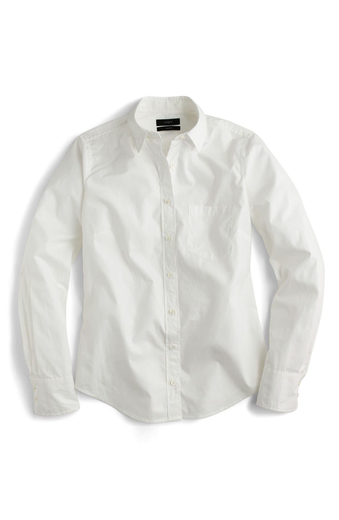 J.Crew New Perfect Cotton Poplin Shirt,                             Alternate thumbnail 5, color,                             White