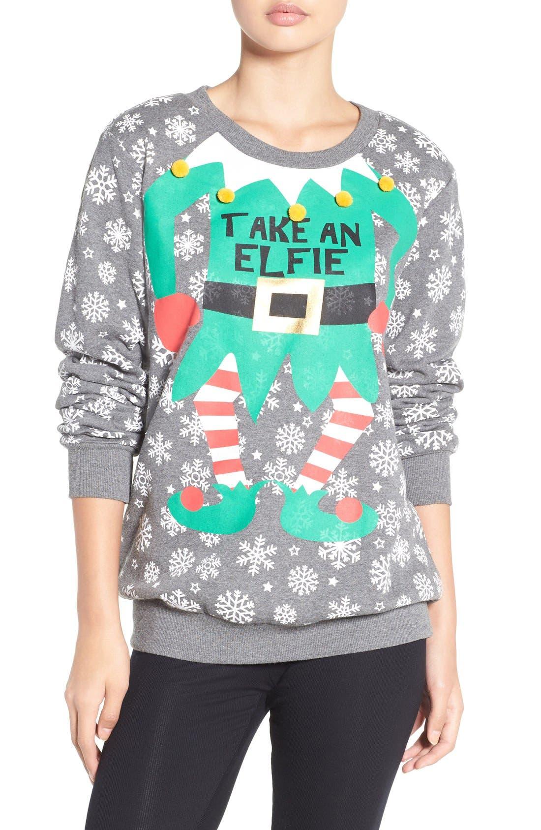 Holiday Sweatshirt,                         Main,                         color, Heather Grey