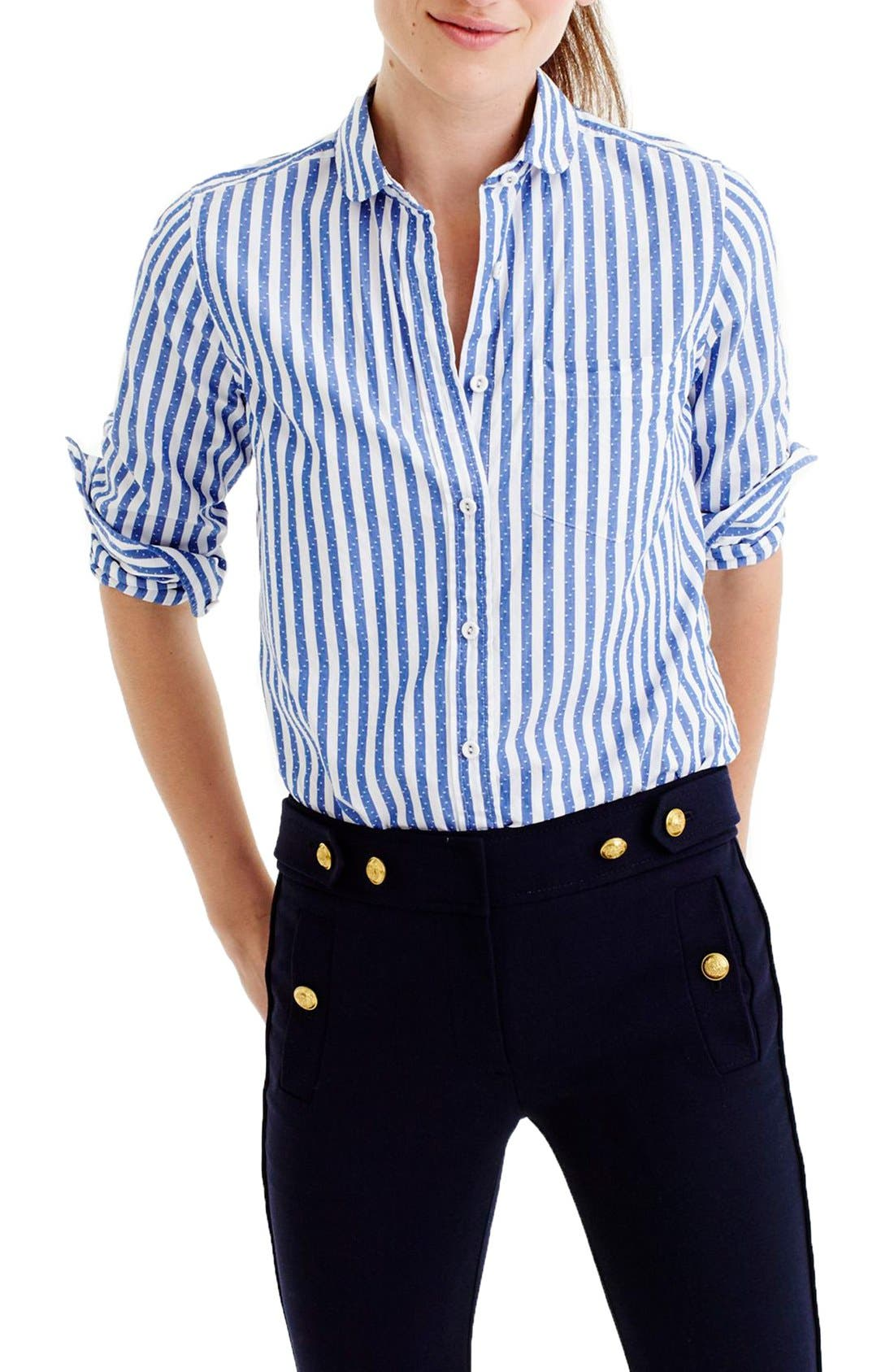 Main Image - J.Crew Club Collar Jacquard Stripe Boy Shirt (Regular & Petite)