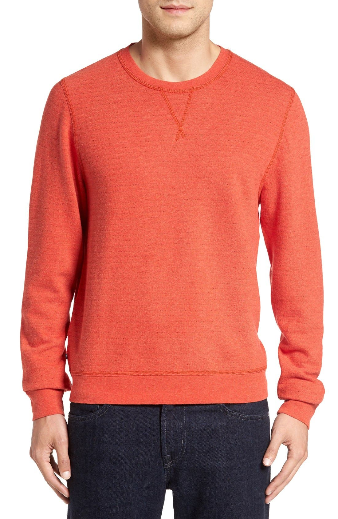 'Gleann' French Terry Crewneck Sweatshirt,                             Main thumbnail 1, color,                             Tangine Heather