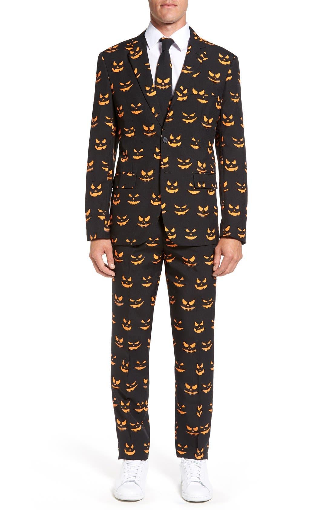 'Black-O Jack-O' Trim Fit Suit with Tie,                         Main,                         color, Black