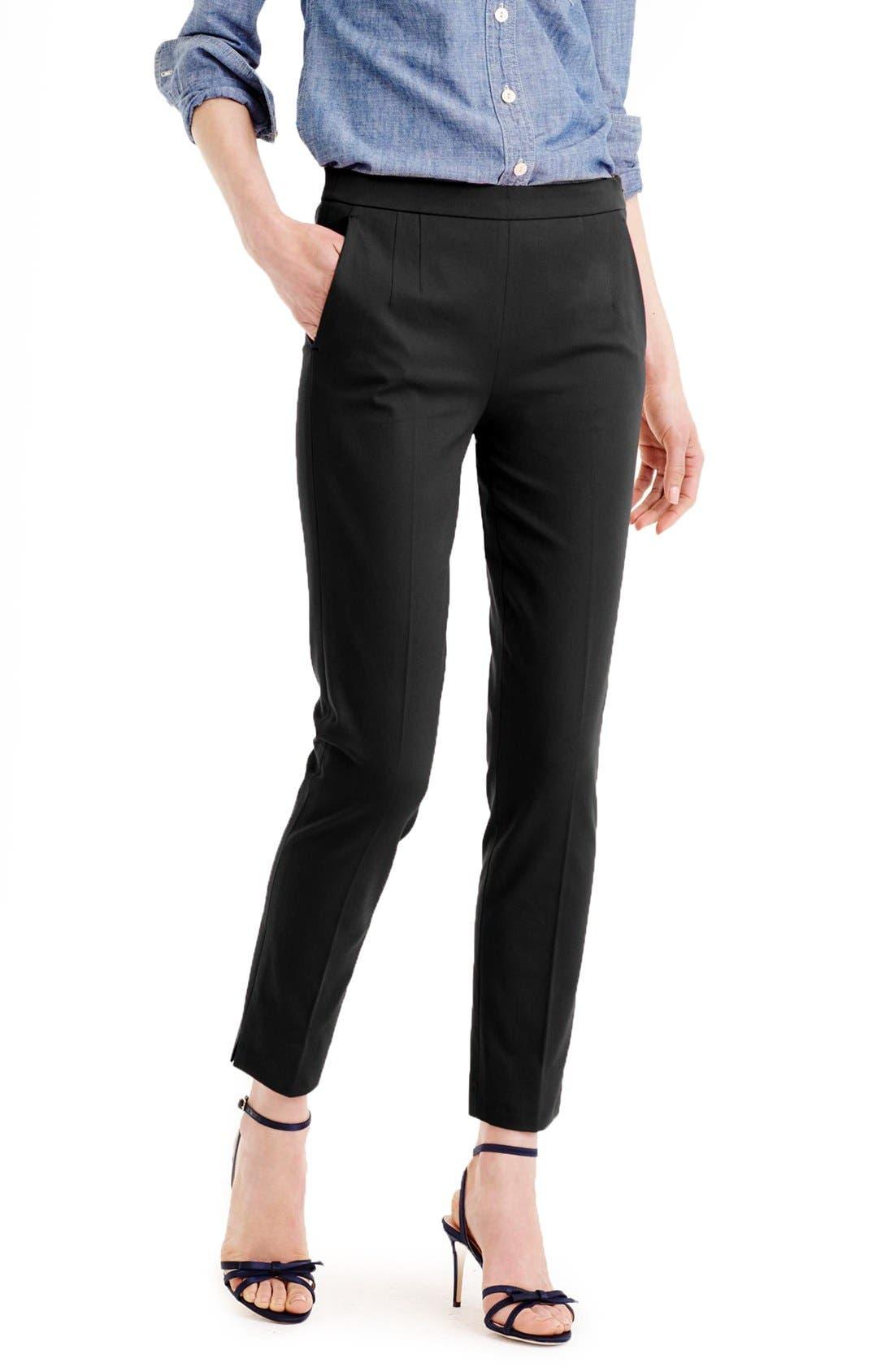 Main Image - J.Crew 'Martie' Bi-Stretch Cotton Blend Pants (Regular & Petite)