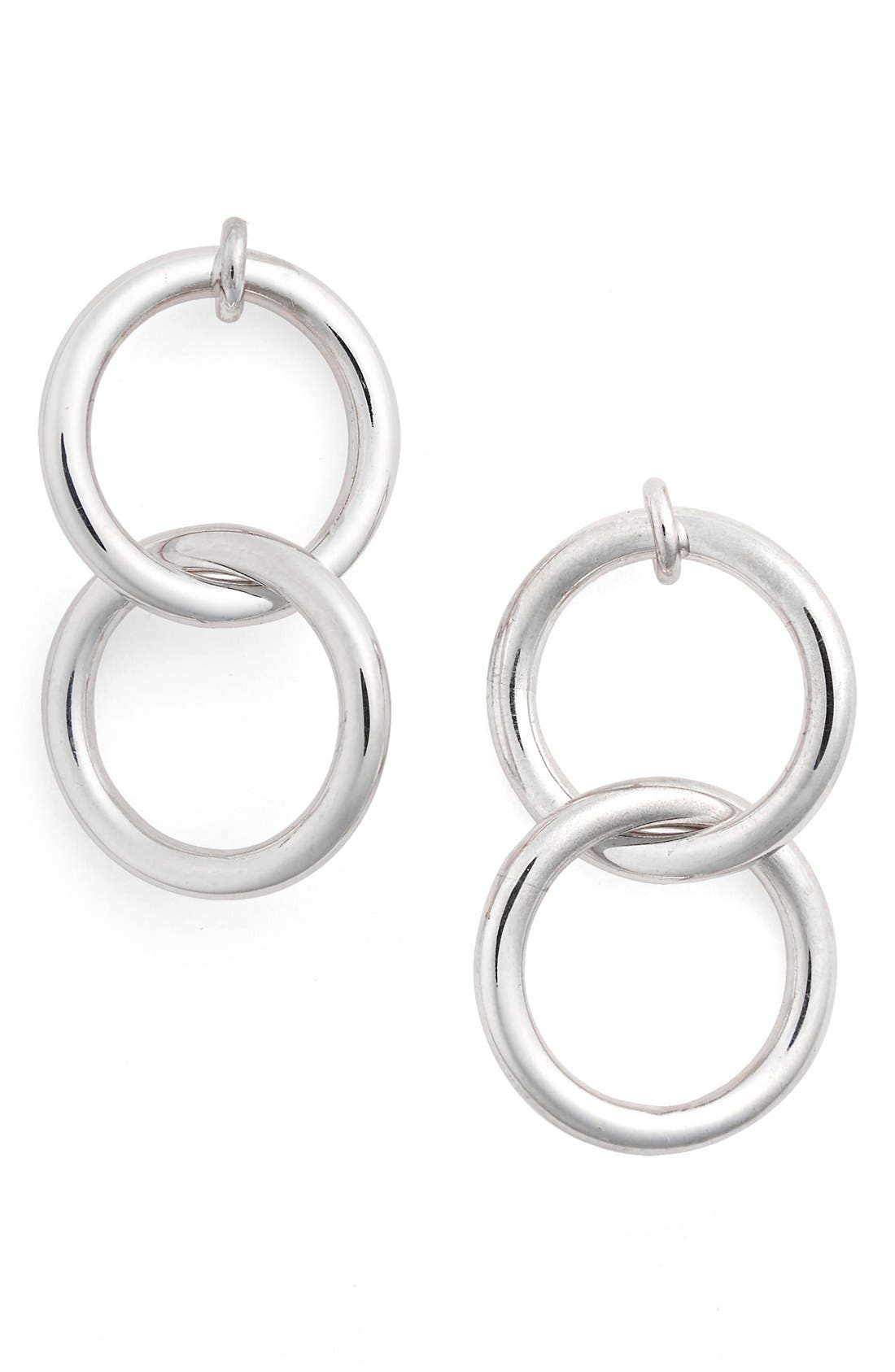 'Double Halo' Drop Earrings,                         Main,                         color, Silver