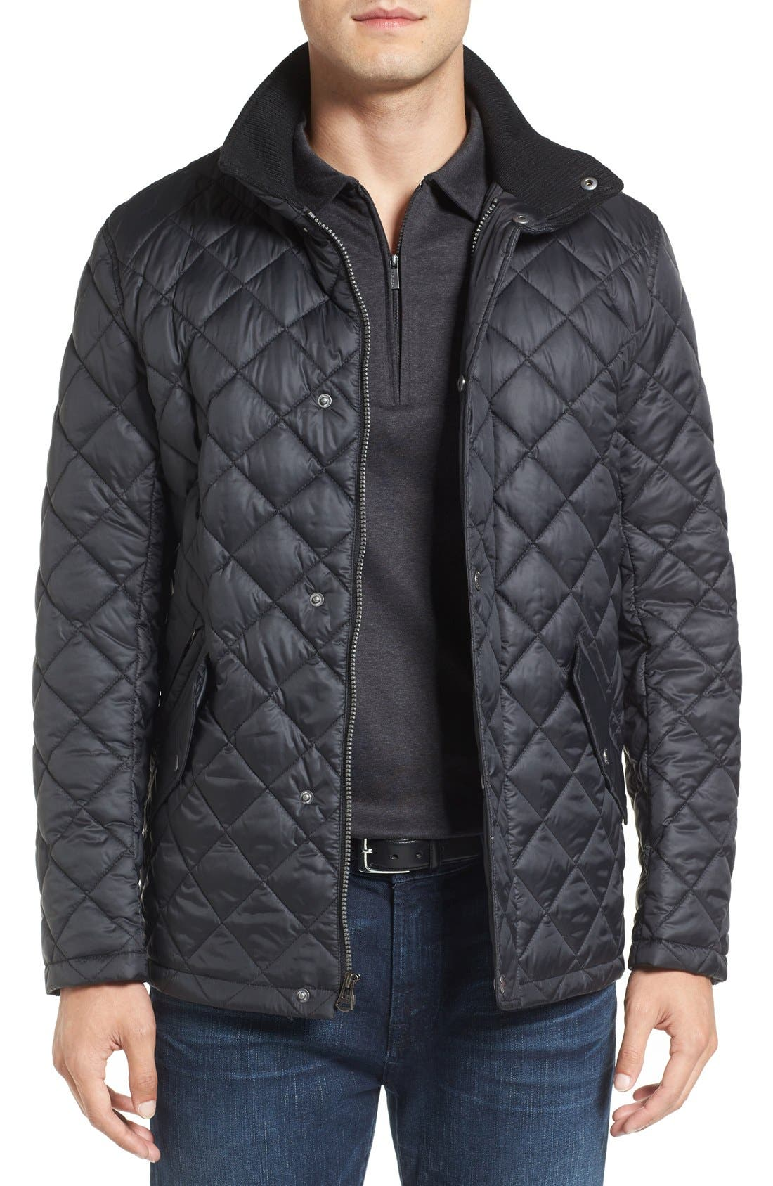 Diamond Quilted Jacket,                             Main thumbnail 3, color,                             Navy