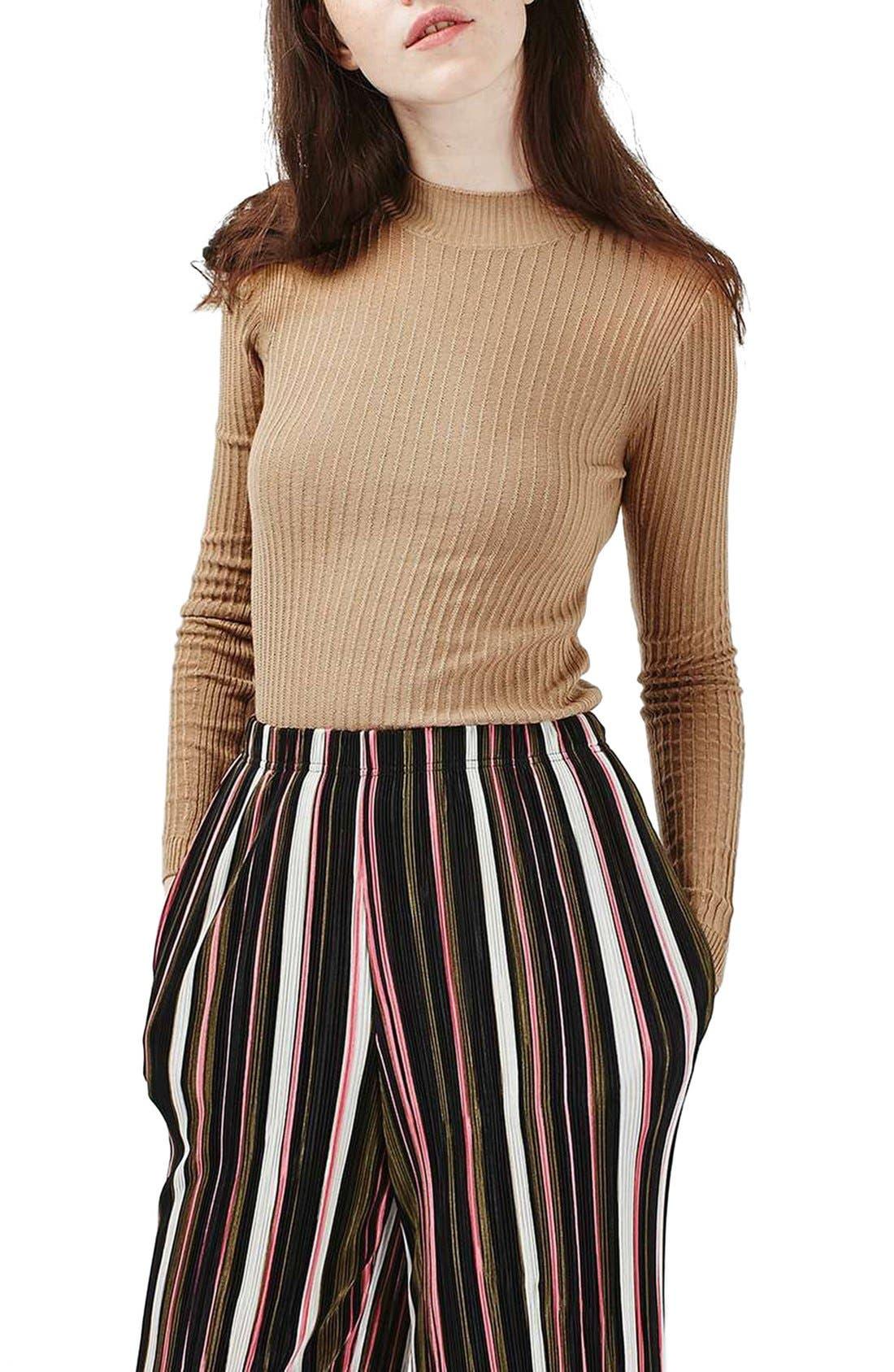 Main Image - Topshop Textured Stripe Mock Neck Sweater