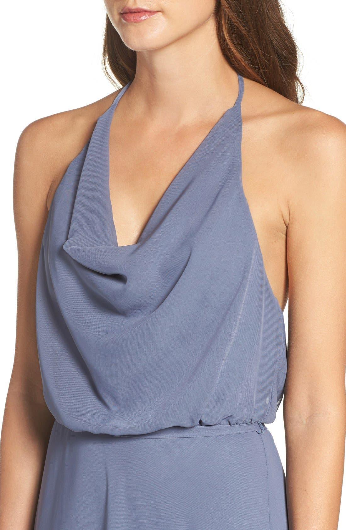 Alternate Image 4  - nouvelle AMSALE 'Alyssa' Cowl Neck Chiffon Halter Gown