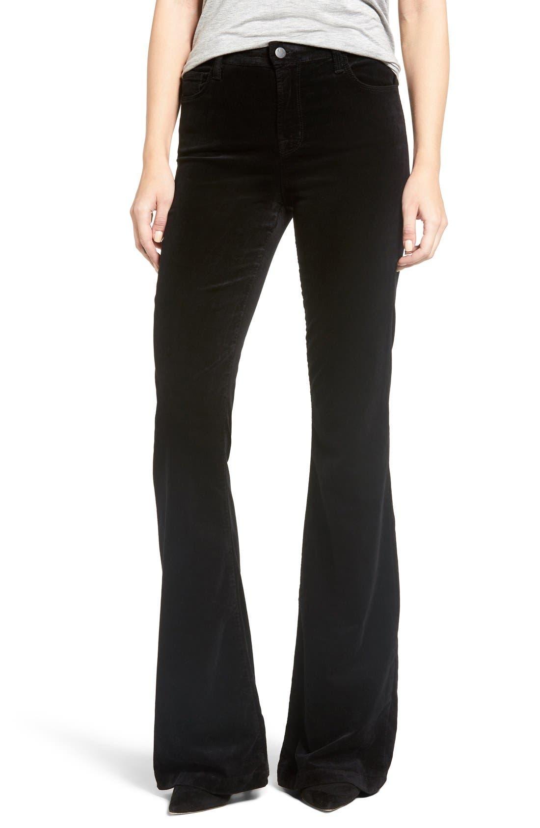 'Maria' Velvet Flare Pants,                         Main,                         color, Black