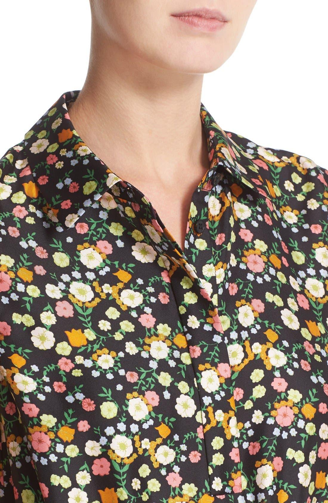 Alternate Image 4  - Tory Burch 'Ryder' Floral Silk Shirtdress