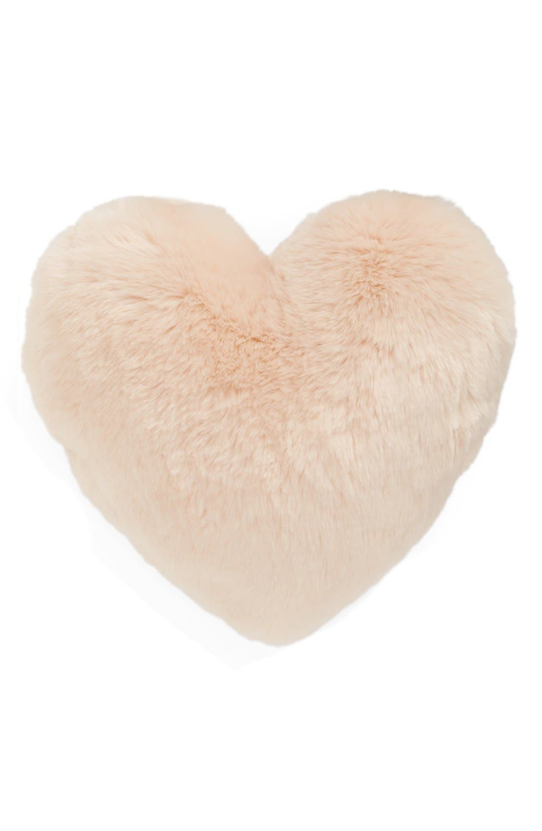 'Cuddle Up' Faux Fur Heart Accent Pillow,                             Main thumbnail 1, color,                             Pink Peony