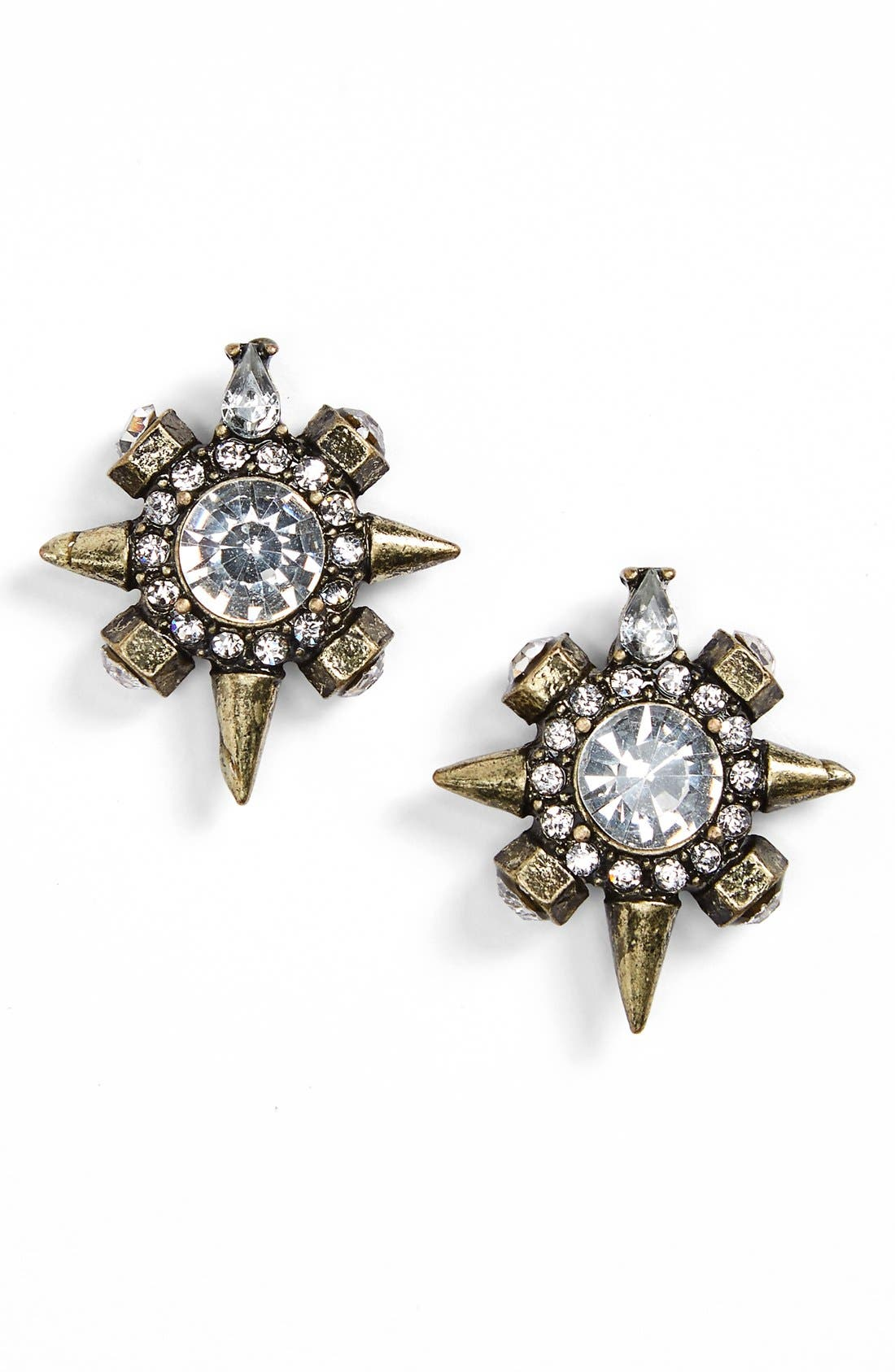 Crystal Spike Earrings,                         Main,                         color, Gold