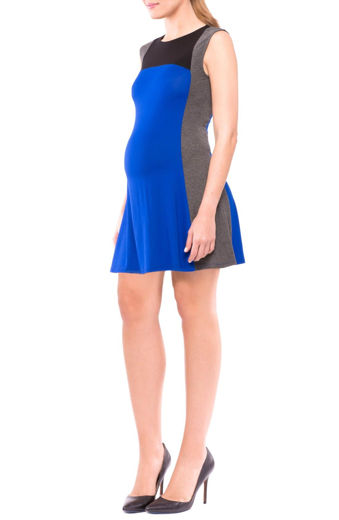 Margarett Maternity Dress,                             Alternate thumbnail 3, color,                             True Blue/ Grey/ Black