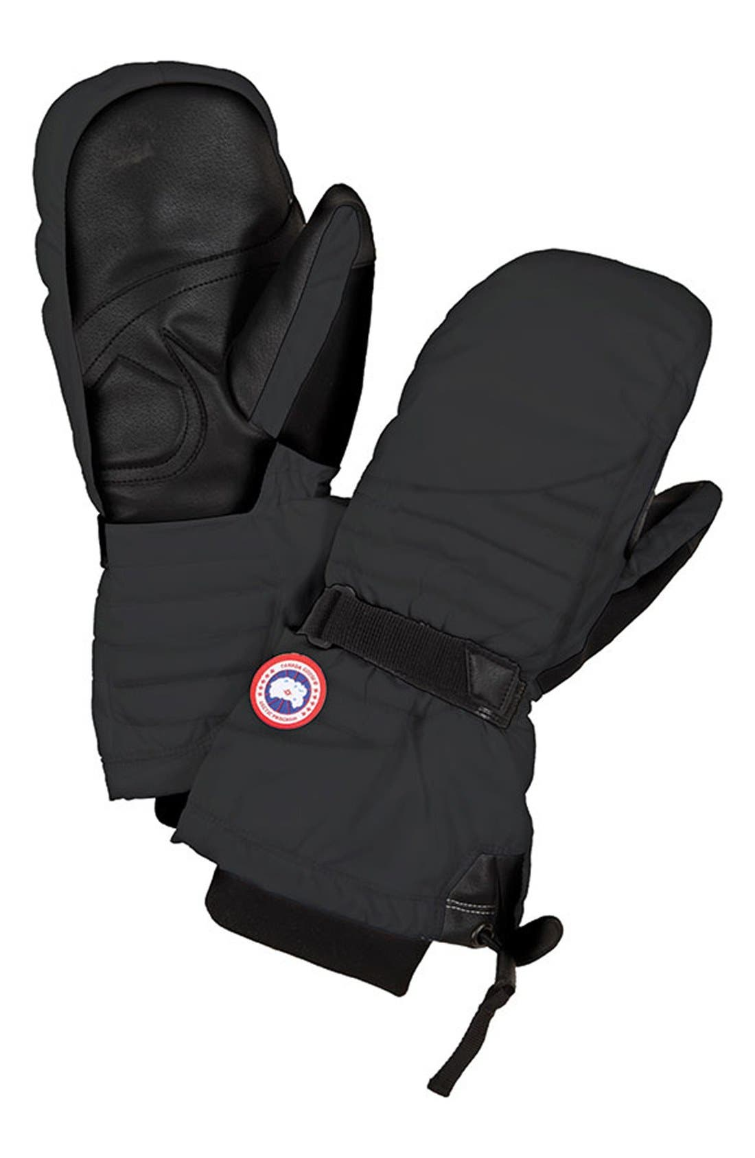 Waterproof Down Mittens,                         Main,                         color, Black