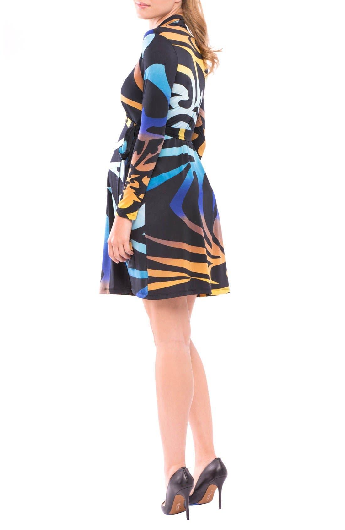 Lorraine Wrap Maternity Dress,                             Alternate thumbnail 2, color,                             Pink/ Blue Print