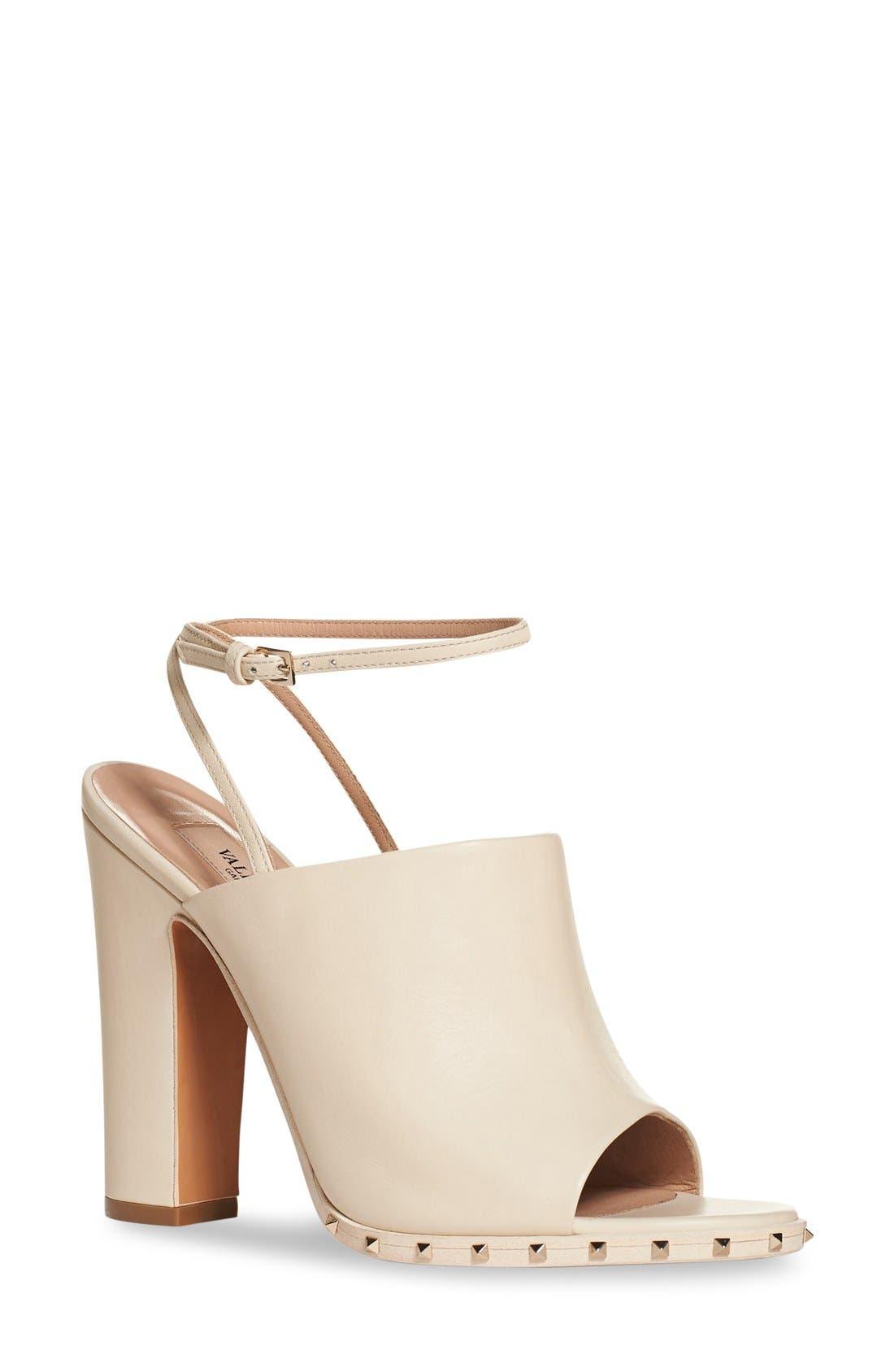 'Soul Stud' Peep Toe Sandal,                             Main thumbnail 1, color,                             Ivory Leather