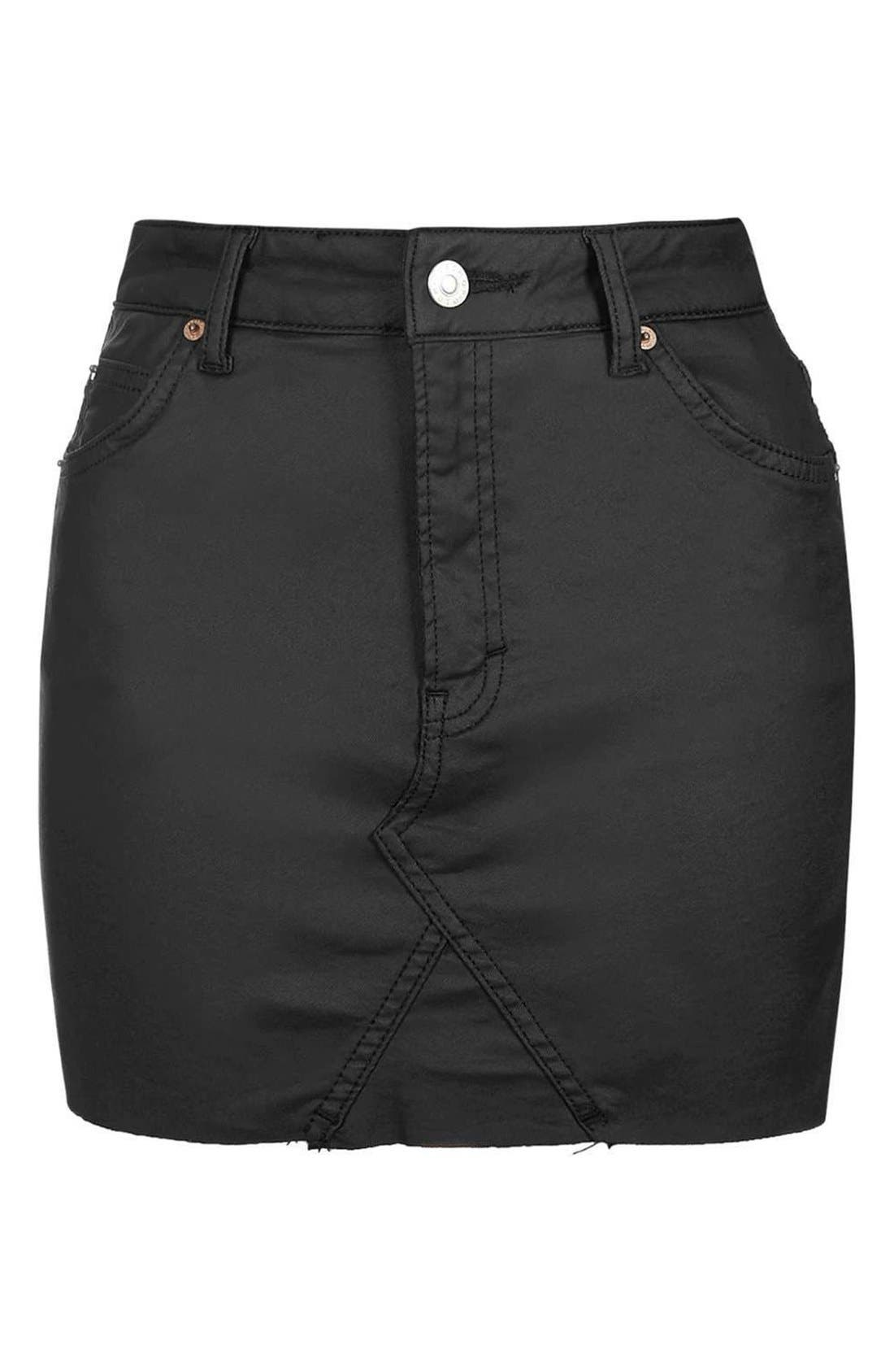 Alternate Image 4  - Topshop Coated Stretch Denim Miniskirt